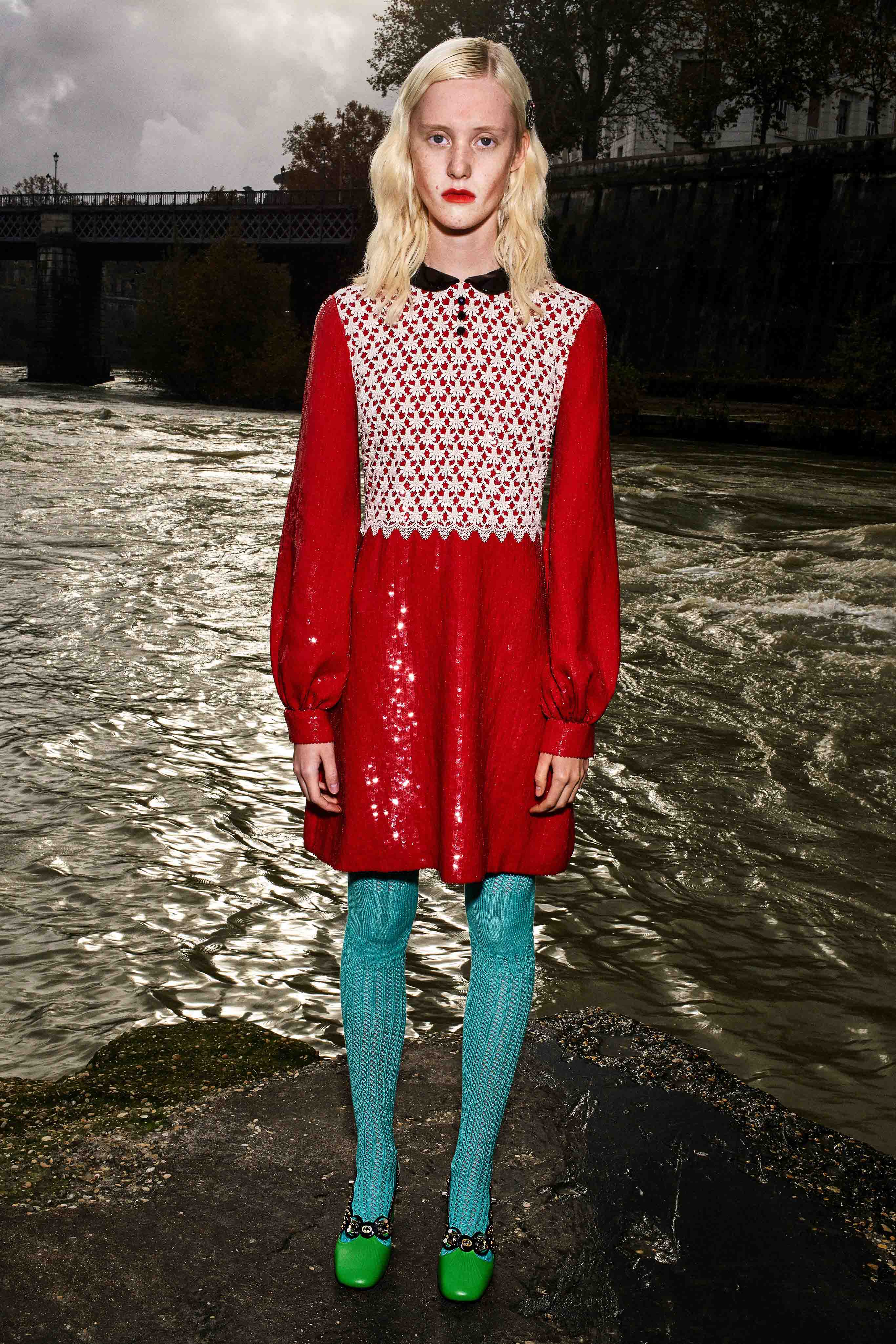 Gucci Pre fall 2020 Lookbook trends runway coverage Ready To Wear Vogue day to night dress colored tights