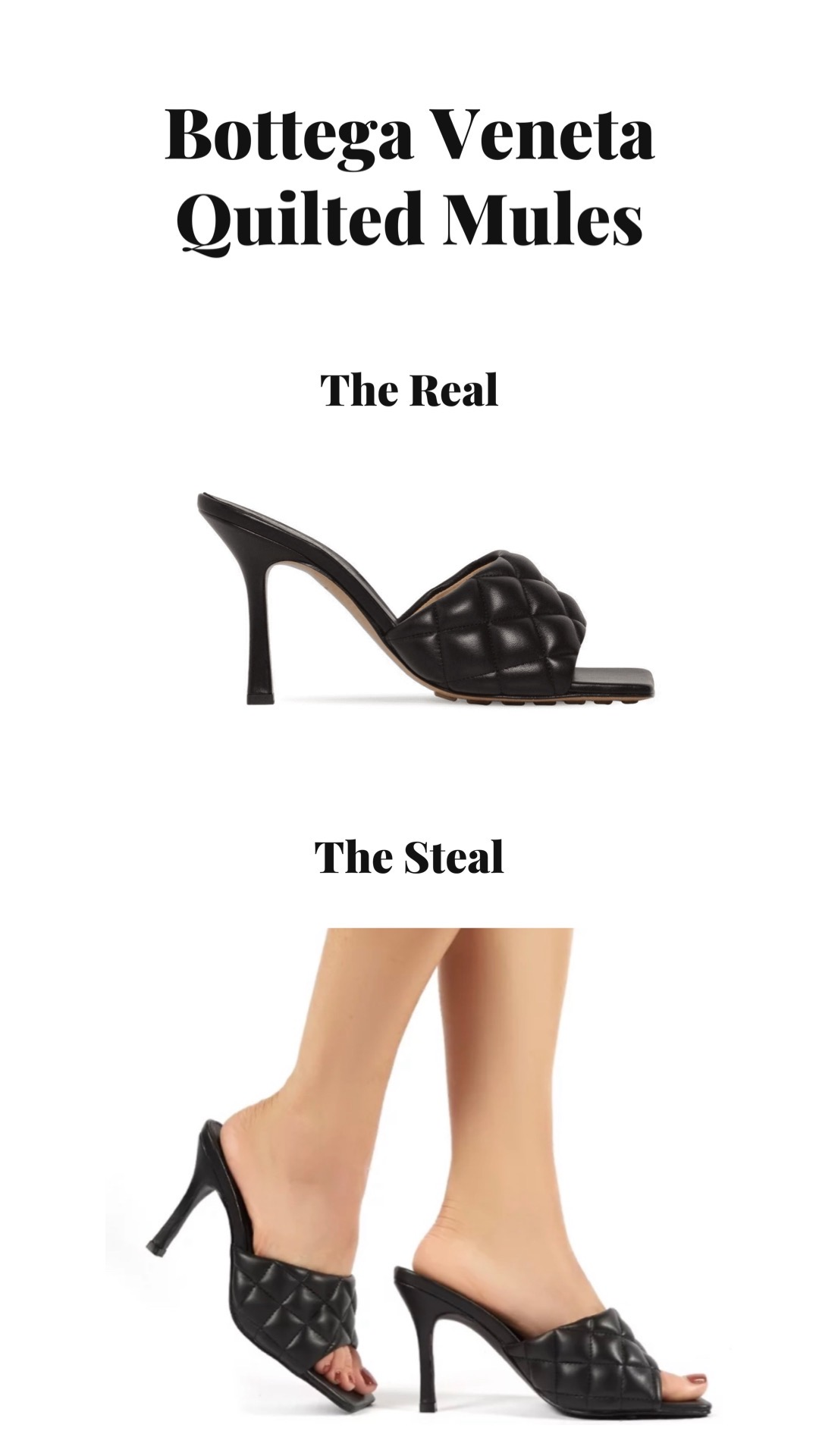 Bottega Veneta quilted mules: real versus steal. Selection of Bottega Veneta high heeled mules and Bottega Veneta dupes