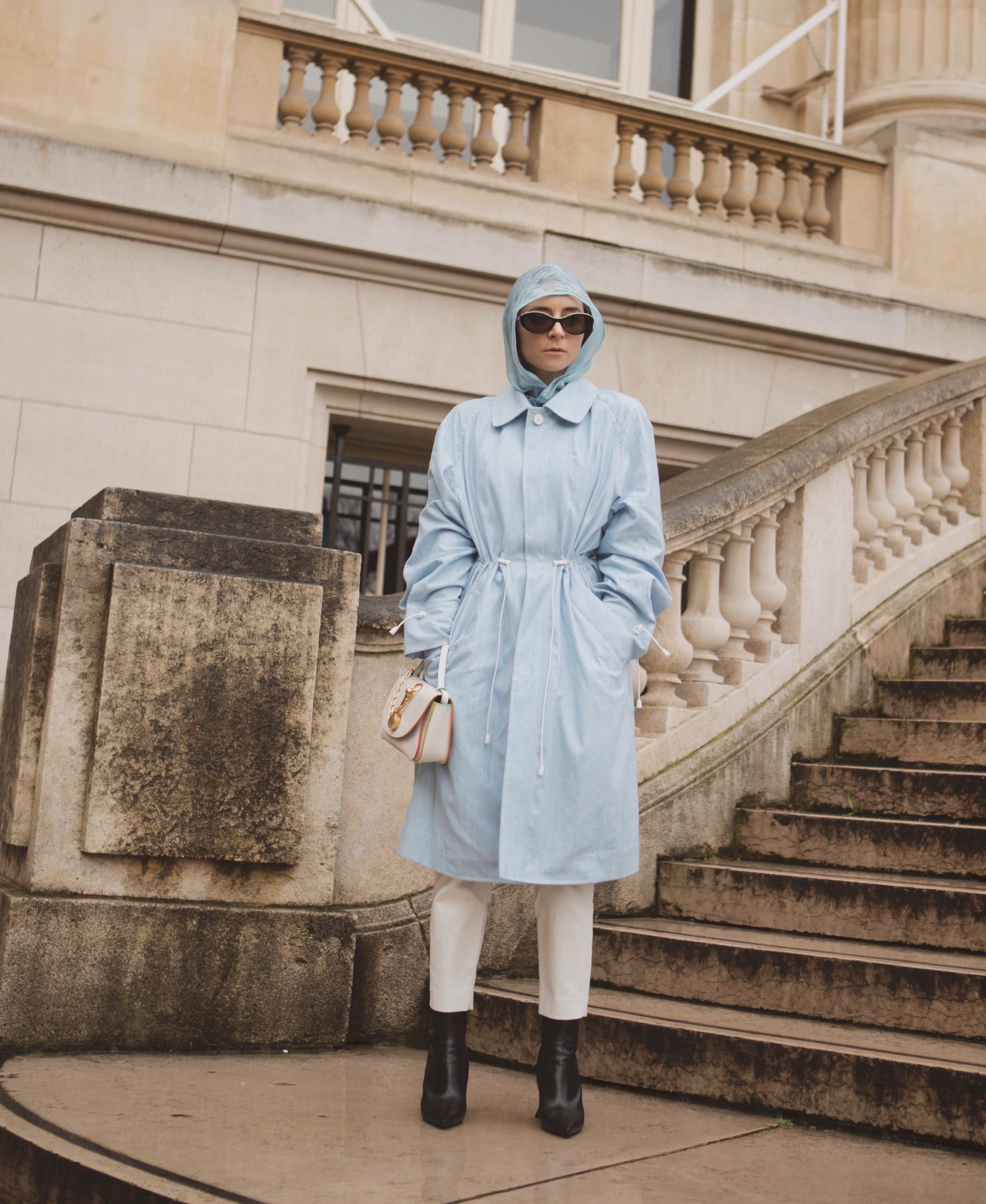 Baby blue nehera spring coat paris fashion week fall 2020 julia comil