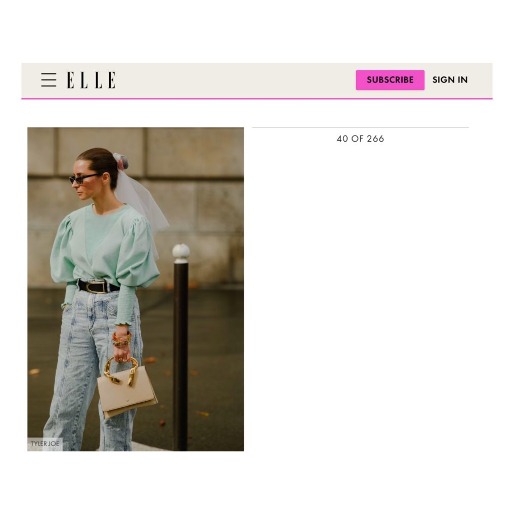 Elle US Julia Comil French Fashion Blogger during Paris Fashion Week SS20captured by tyler joe
