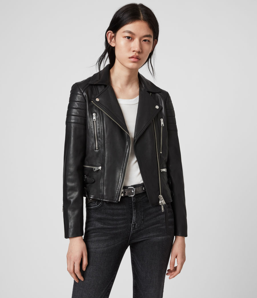 The perfect woman black leather jacket ! The leather biker jacket is a French staple: timeless and effortless chic! Selection of the best premium leather jackets at an affordable price - All Saints
