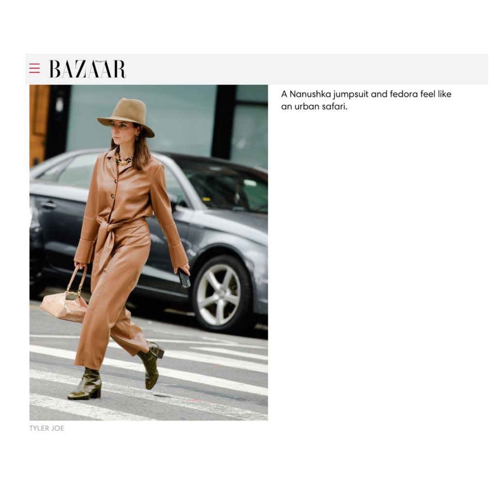 Harpers bazaar US NYFW Julia Comil French Fashion Blogger - The Coolest New York Fashion Week Street Style Looks - Nanushka press