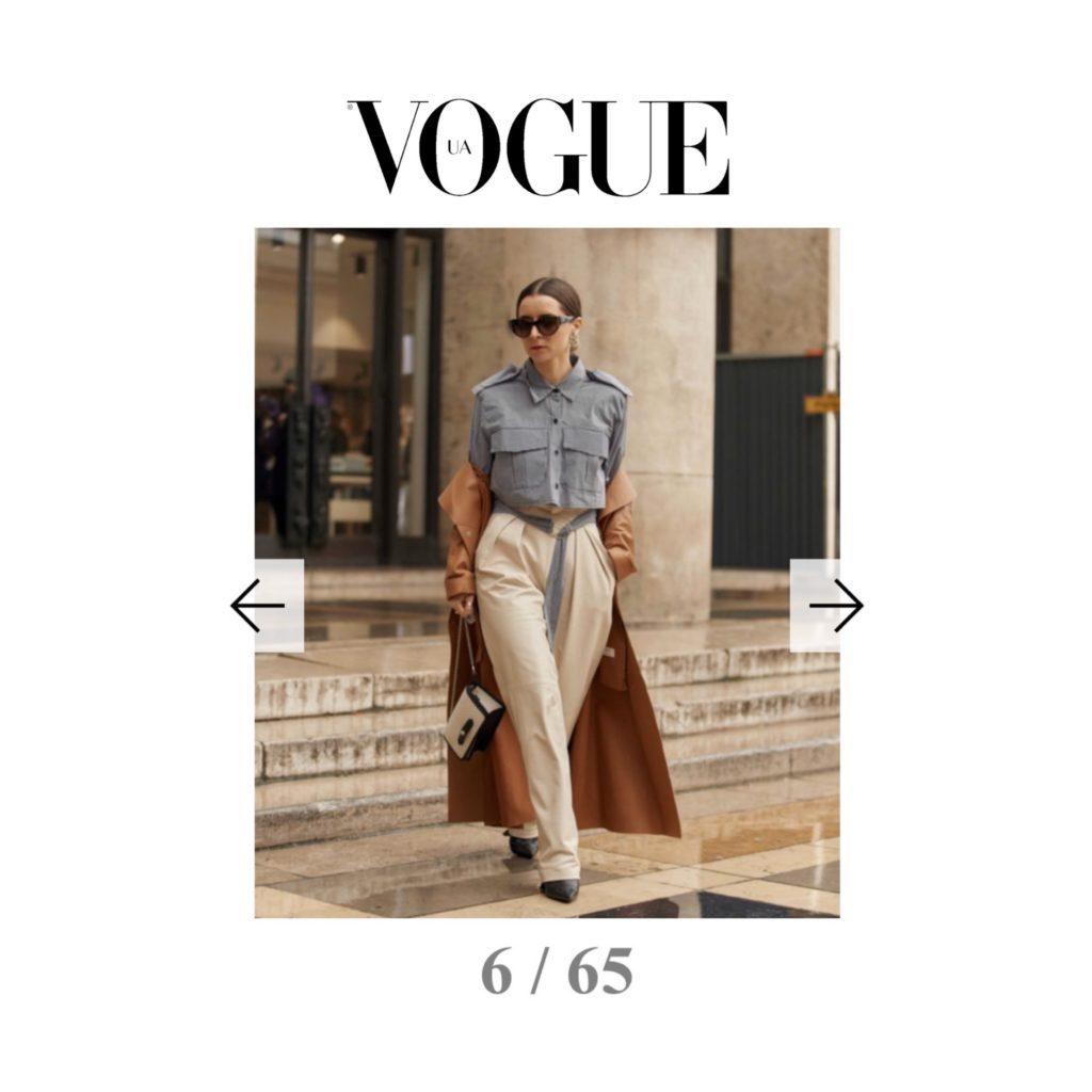 Vogue Ukraine - Best of Paris Fashion Week Street Style Fall 2020 - Julia Comil shot by The Style Stalker - Julia Comil is wearing Sportmax coat, Kristina Fidelskaya leather pants, The Frankie Shop cropped shirt, Chanel sunglasses, L'Etrange Paris bag - press
