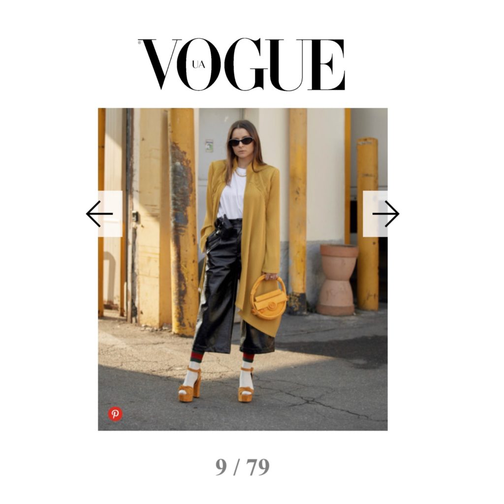 Vogue Ukraine - Best of Milan Fashion Week Street Style Fall 2020 - Julia Comil shot by The Style Stalker - French fashion influencer Julia Comil is wearing Balmain bag, Barbara Bui jacket, Giuseppe Zanotti palform shoes, Gucci socks