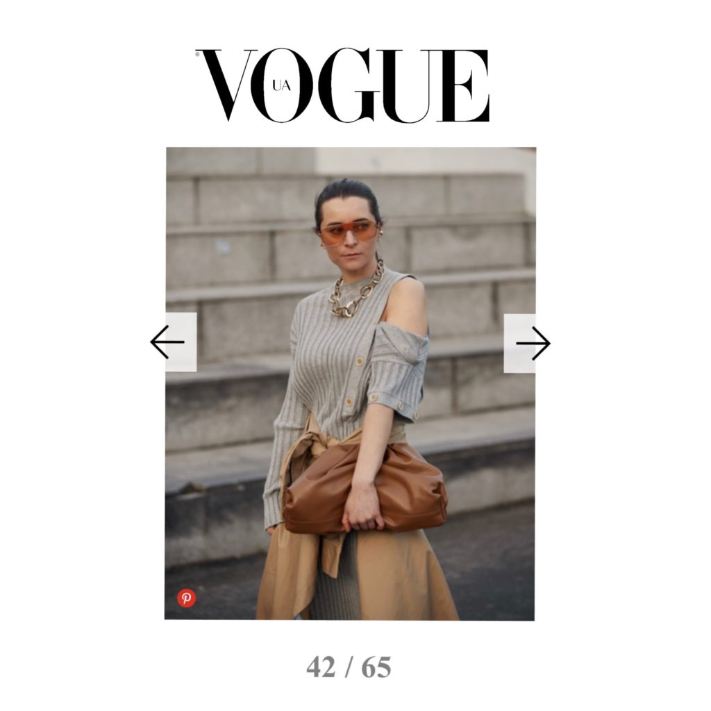 Vogue Ukraine - Best of Paris Fashion Week Street Style Fall 2020 - Julia Comil shot by The Style Stalker - Influencer Julia Comil is wearing Dawei dress, Ferragamo sunglasses, Designers Remix Trench coat, Bottega Veneta pouch, Goosens necklace - Press