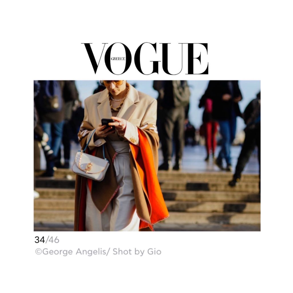 Vogue Greece - Best of Paris Fashion Week Street Style Fall 2020 - Julia Comil shot by George Angelis - Julia Comil is wearing Balmain bag, Barbara Bui jacket, Giuseppe Zanotti palform shoes, Gucci socks