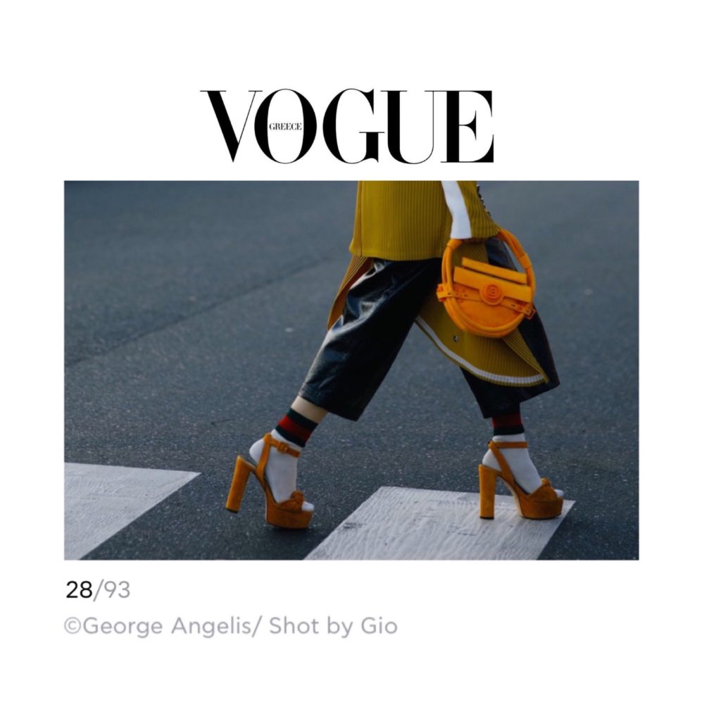 Vogue Greece - Best of Milan Fashion Week Street Style - Julia Comil shot by Gio - French fashion influencer Julia Comil is wearing Balmain bag, Barbara Bui jacket, Giuseppe Zanotti palform shoes, Gucci socks