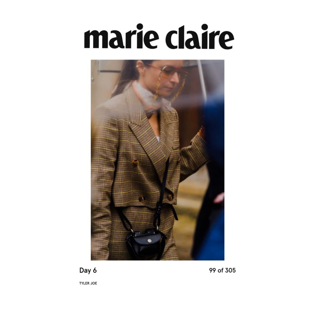 Marie Claire USA - Best of Paris Fashion Week Street Style Fall 2020 - Julia Comil shot by Tyler Joe - Julia Comil is wearing Nanushka suits, Beautiful people bag, Ferragamo sunglasses