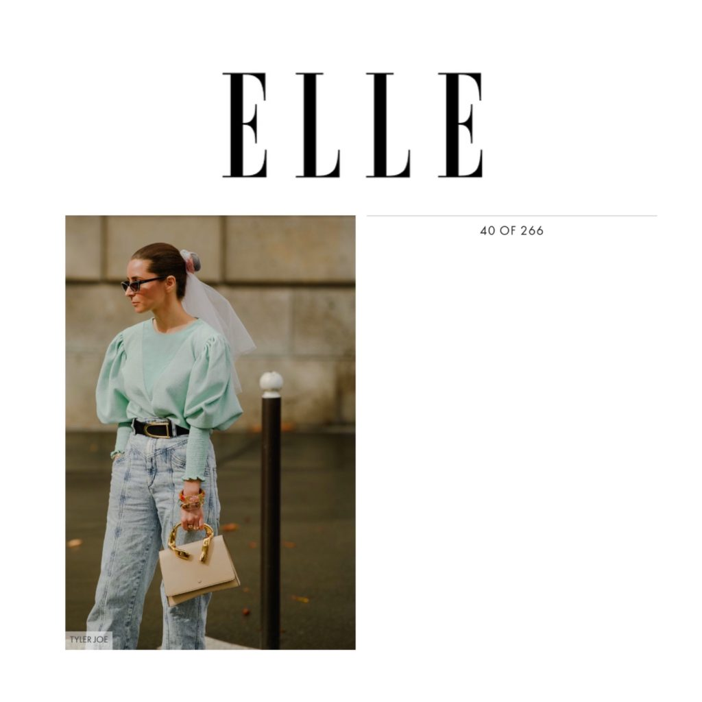 Elle US - Best Paris Fashion Week Street Style Spring 2020 - Julia Comil shot by Tyler Joe - Bag L'Etrange Paris