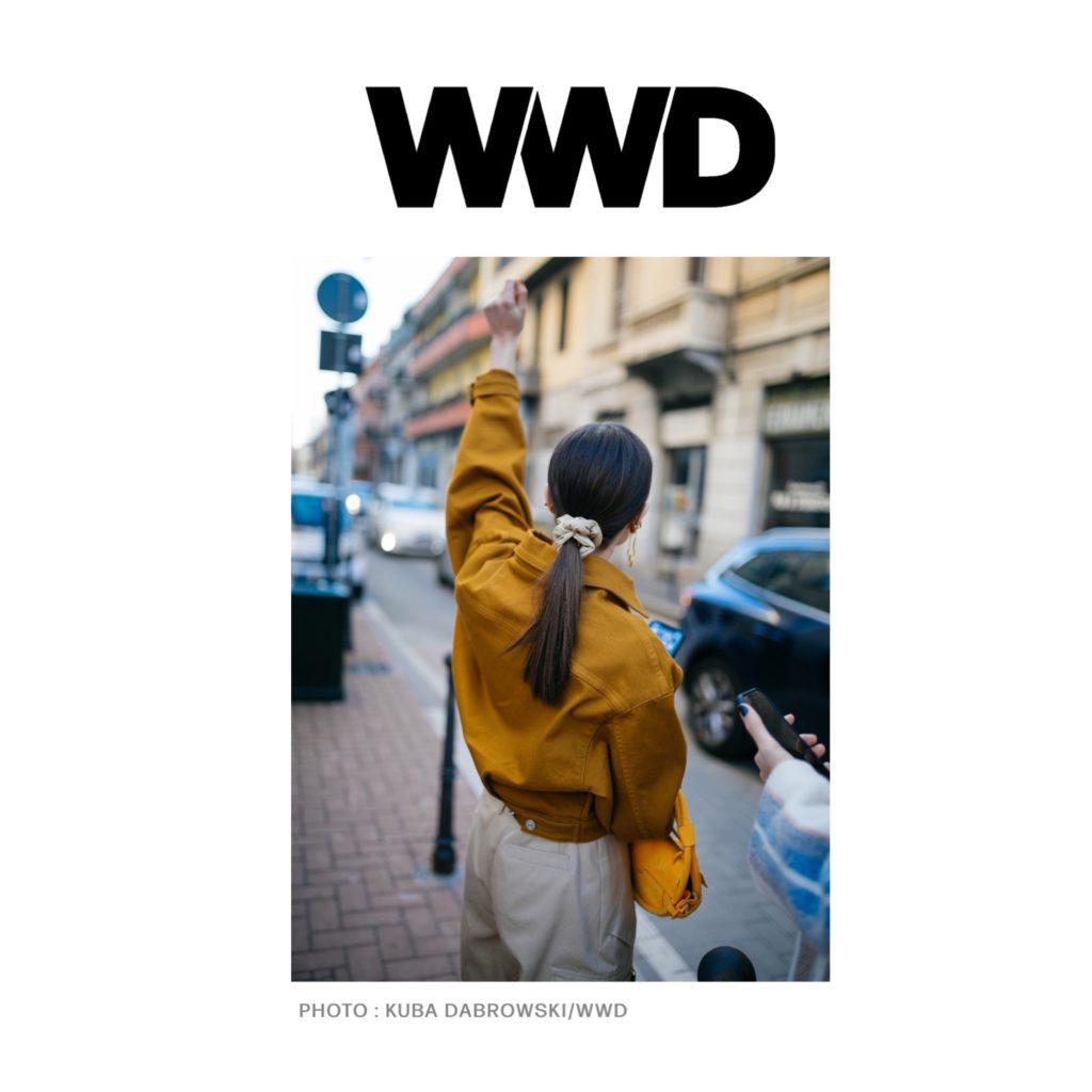 WWD - Best of Milan Fashion Week Street Style Fall 2020 - Julia Comil shot by Kuba Dabrowski - Julia is wearing Balmain bag, Barbara Bui pants and jacket, Nanushka faux leather scrunchie