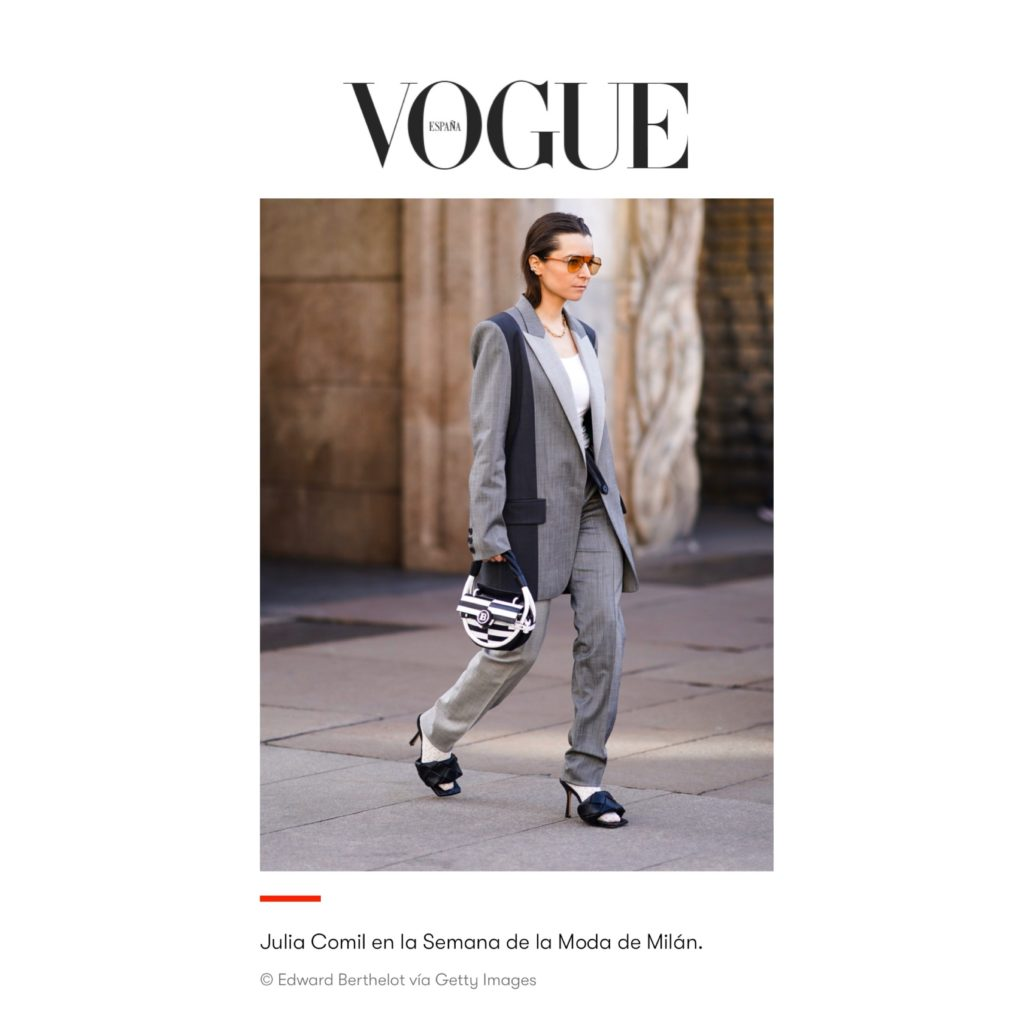 Vogue Spain - Milan Fashion Week - Julia Comil shot by Edward Berthelot - Julia is wearing Gucci white socks, Bottega Veneta sandals, Balmain bag, Barbara Bui suits, Ferragamo sunglasses