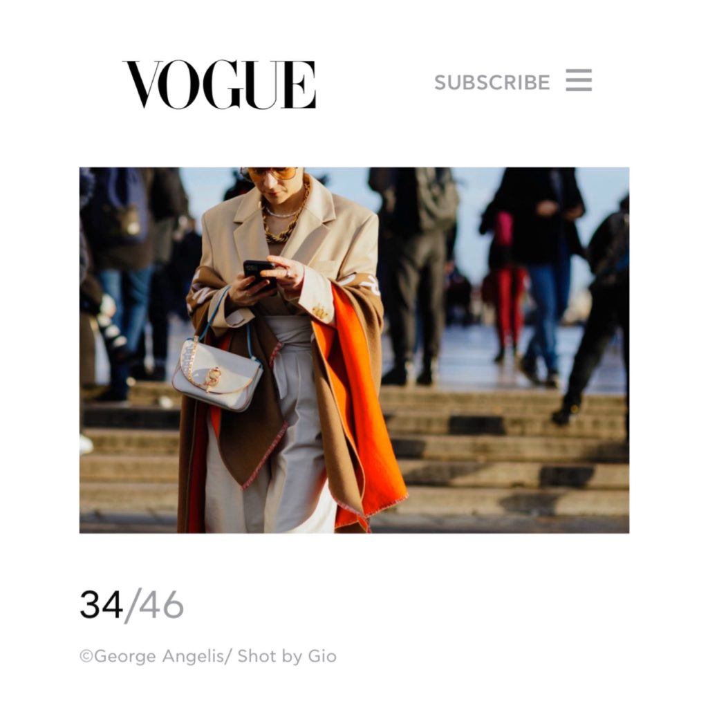 Vogue Greece Julia Comil wearing kristina fidelskaya, JW Anderson, Wandler, Burberry, Ferragamo, Brinker & Eliza Paris Fashion Week