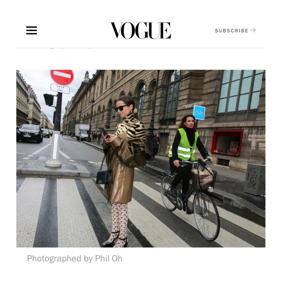 Vogue Magazine Vogue US captured by Phil Oh Julia Comil wearing kristina fidelskaya, Paco Rabanne, Marine Serre Paris Fashion Week