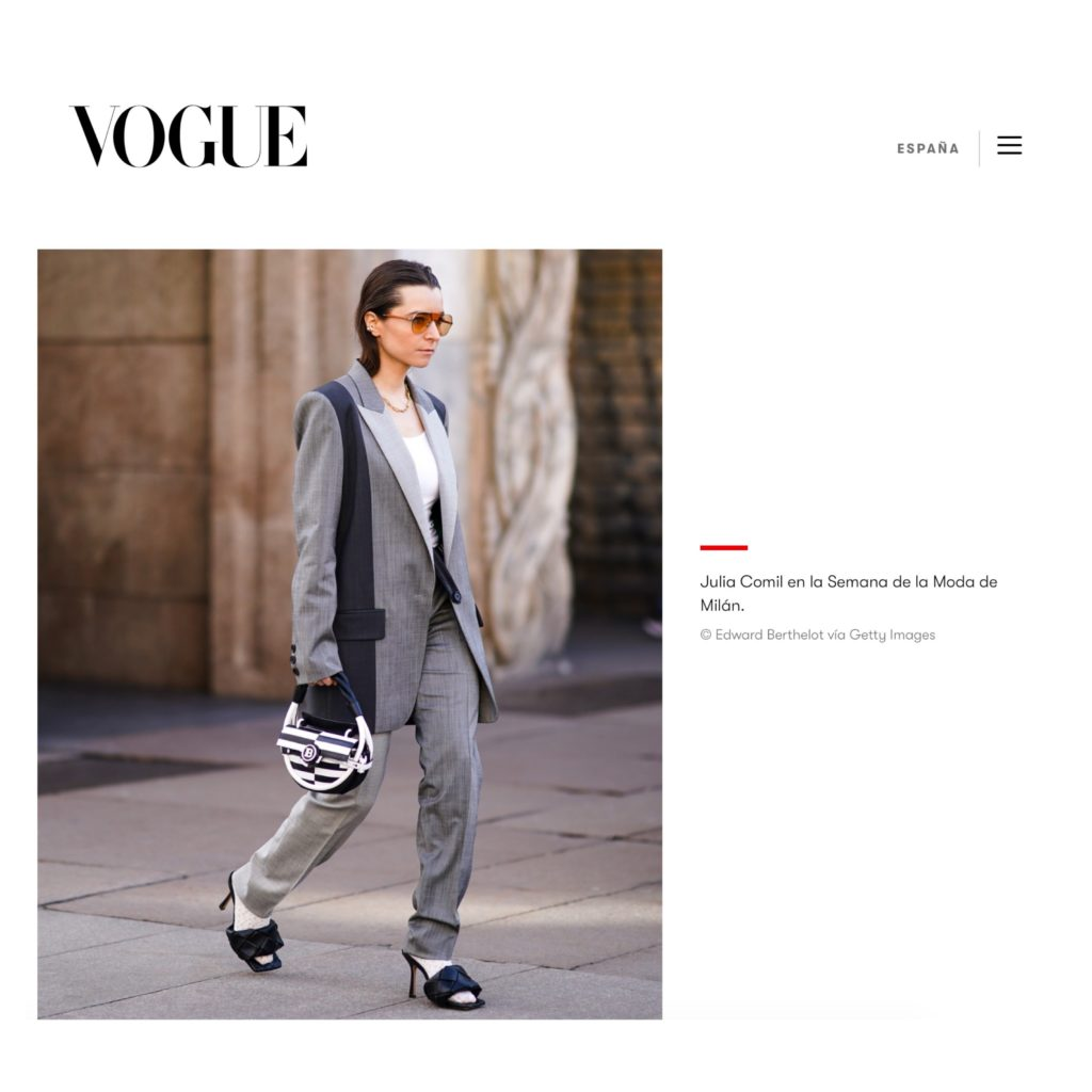 Vogue Spain Julia Comil French Fashion Influencer during Milan Fashion Week white socks bottega veneta balmain barbara bui press