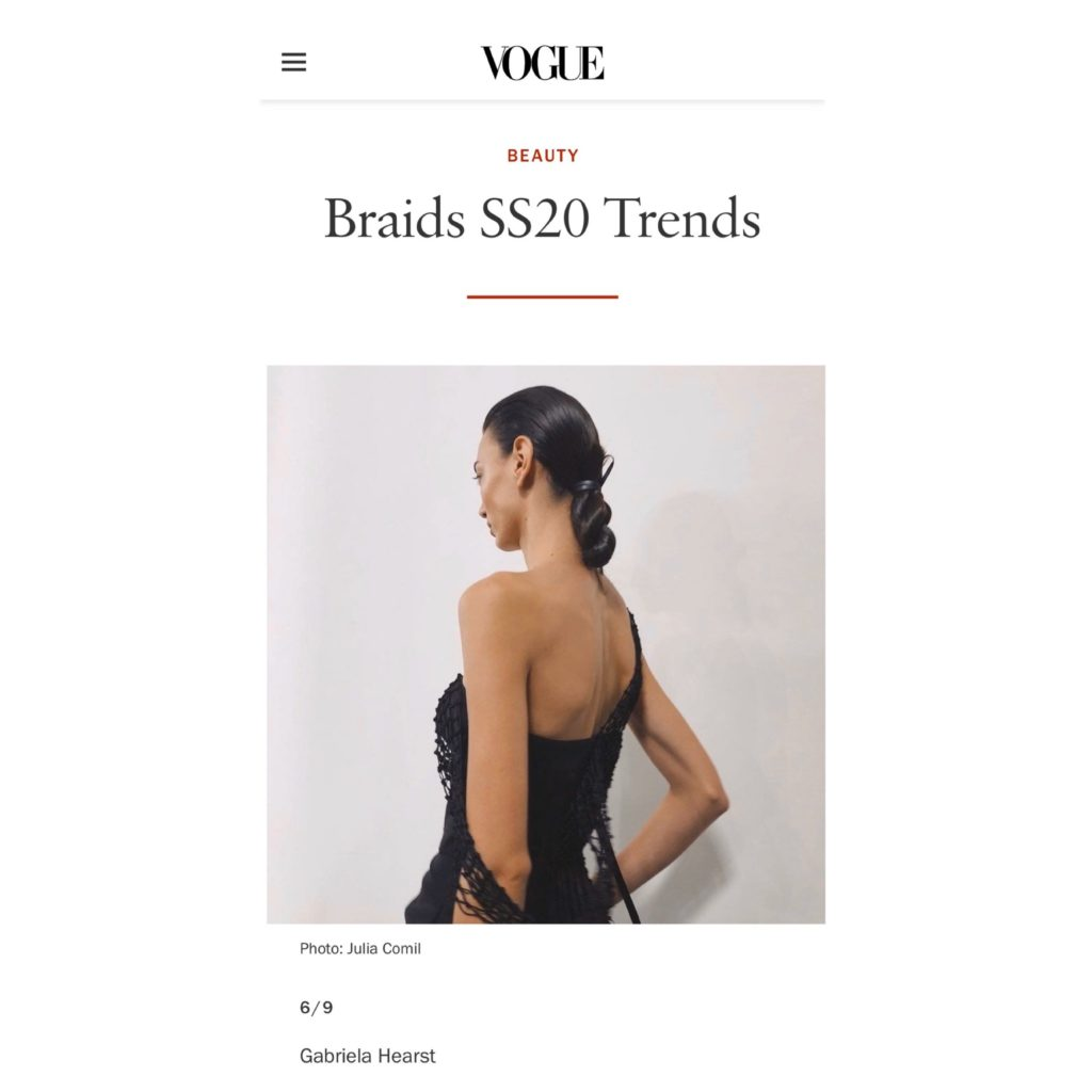 Vogue US Braids SS20 trends captured by Julia Comil during Gabriala Hearst show press