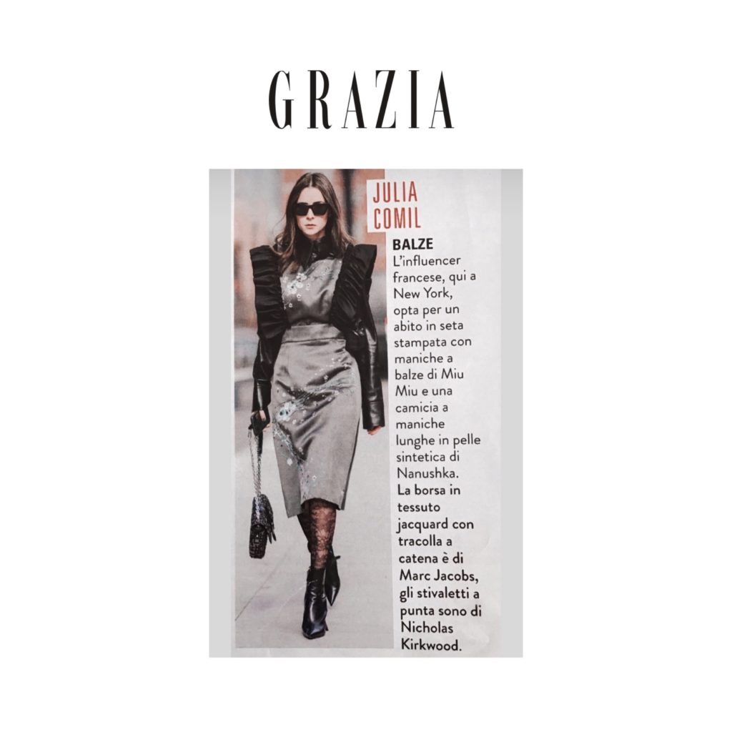 Grazia Italy - During New York Fashion Week - French fashion influencer Julia Comil wearing MiuMiu dress, Nicholas Kirkwood boots, Nanushka faux leather shirt - shot by Edward Berthelot