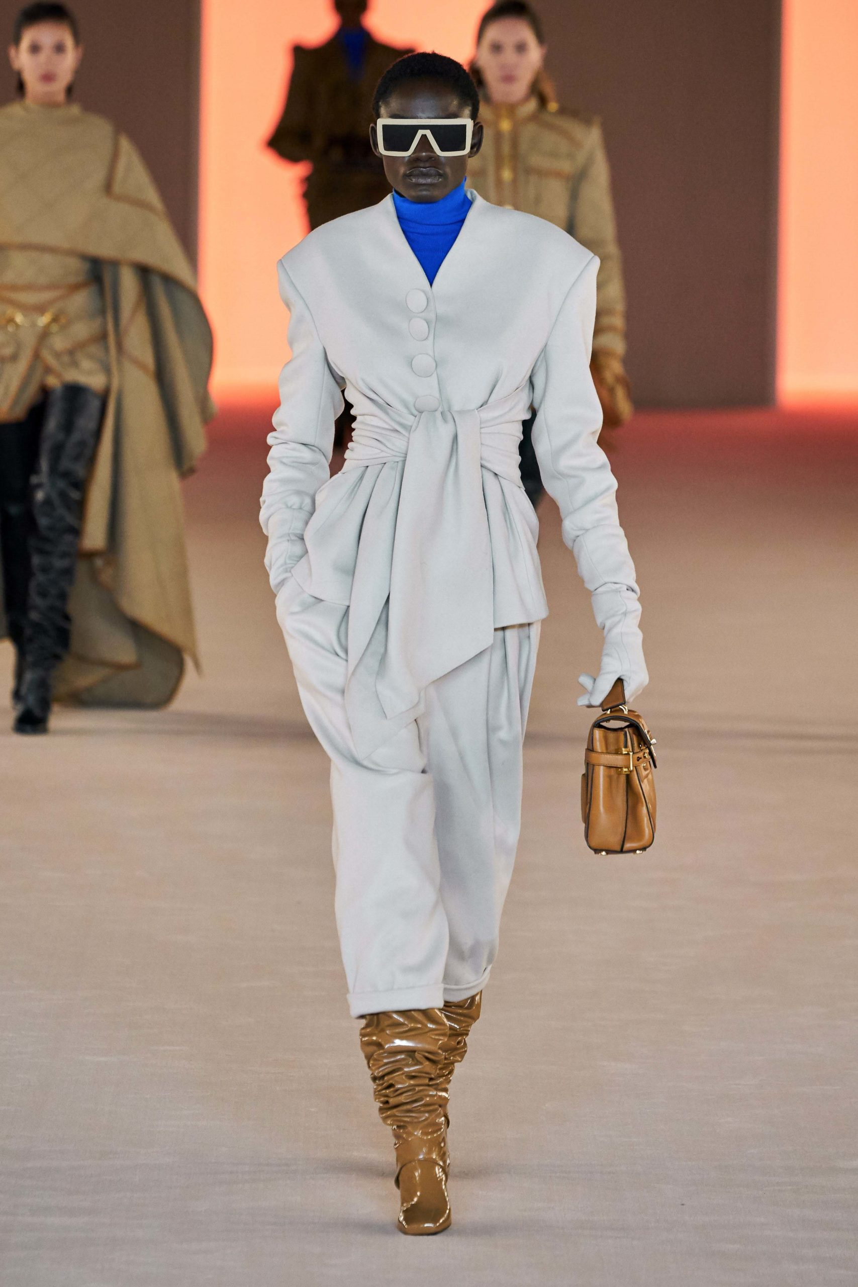 Balmain Fall Winter 2020 trends runway coverage Ready To Wear Vogue belt tie front