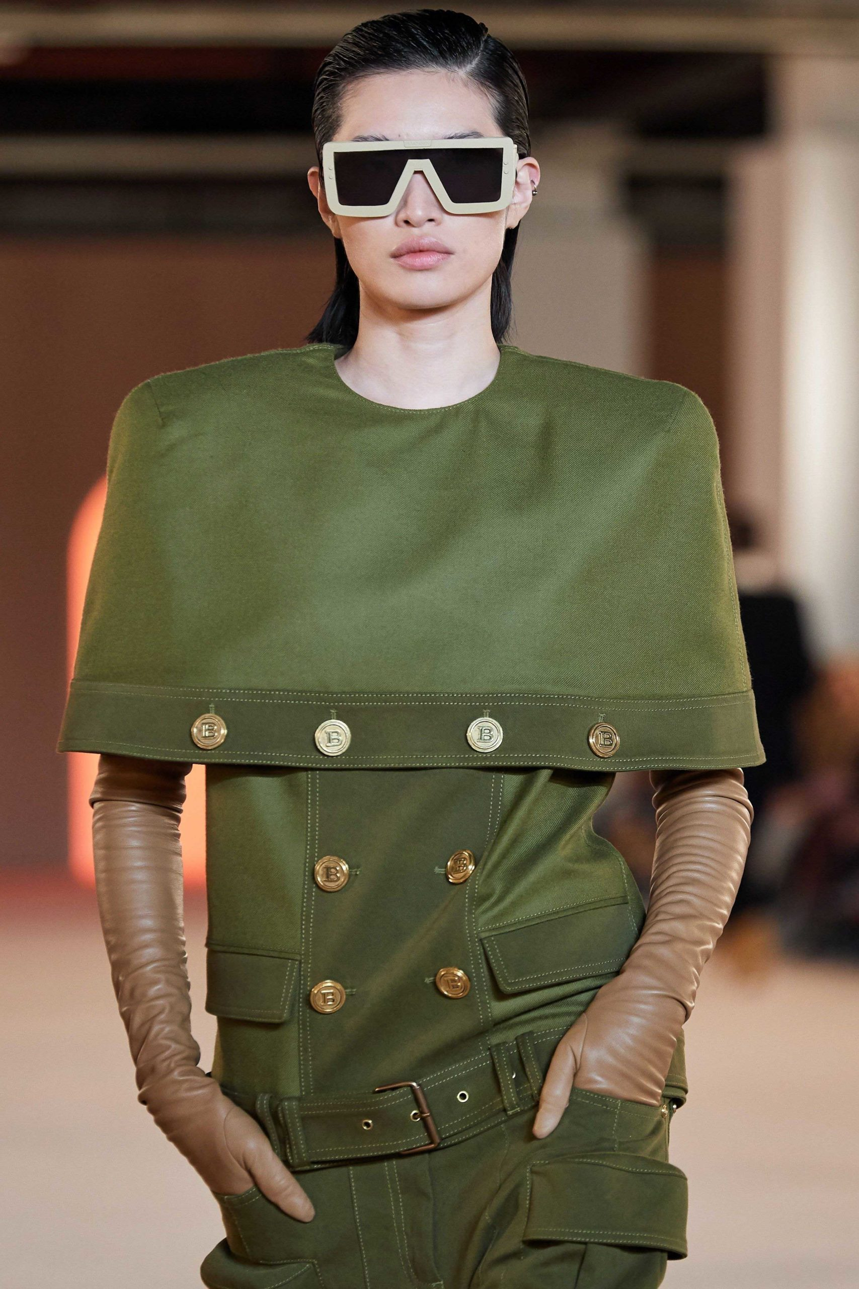 Balmain Fall Winter 2020 trends runway coverage Ready To Wear Vogue capes with gloves