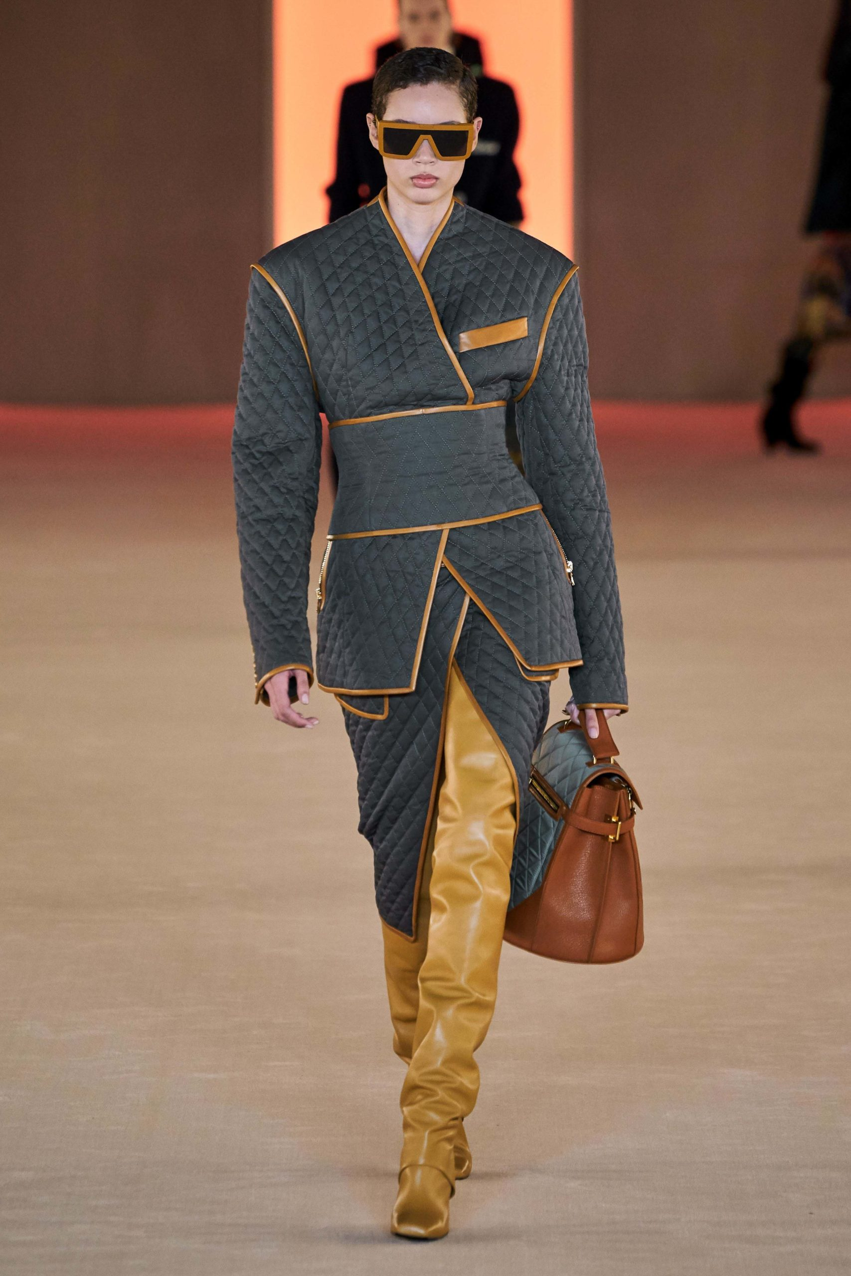 Balmain Fall Winter 2020 trends runway coverage Ready To Wear Vogue waffle quilted