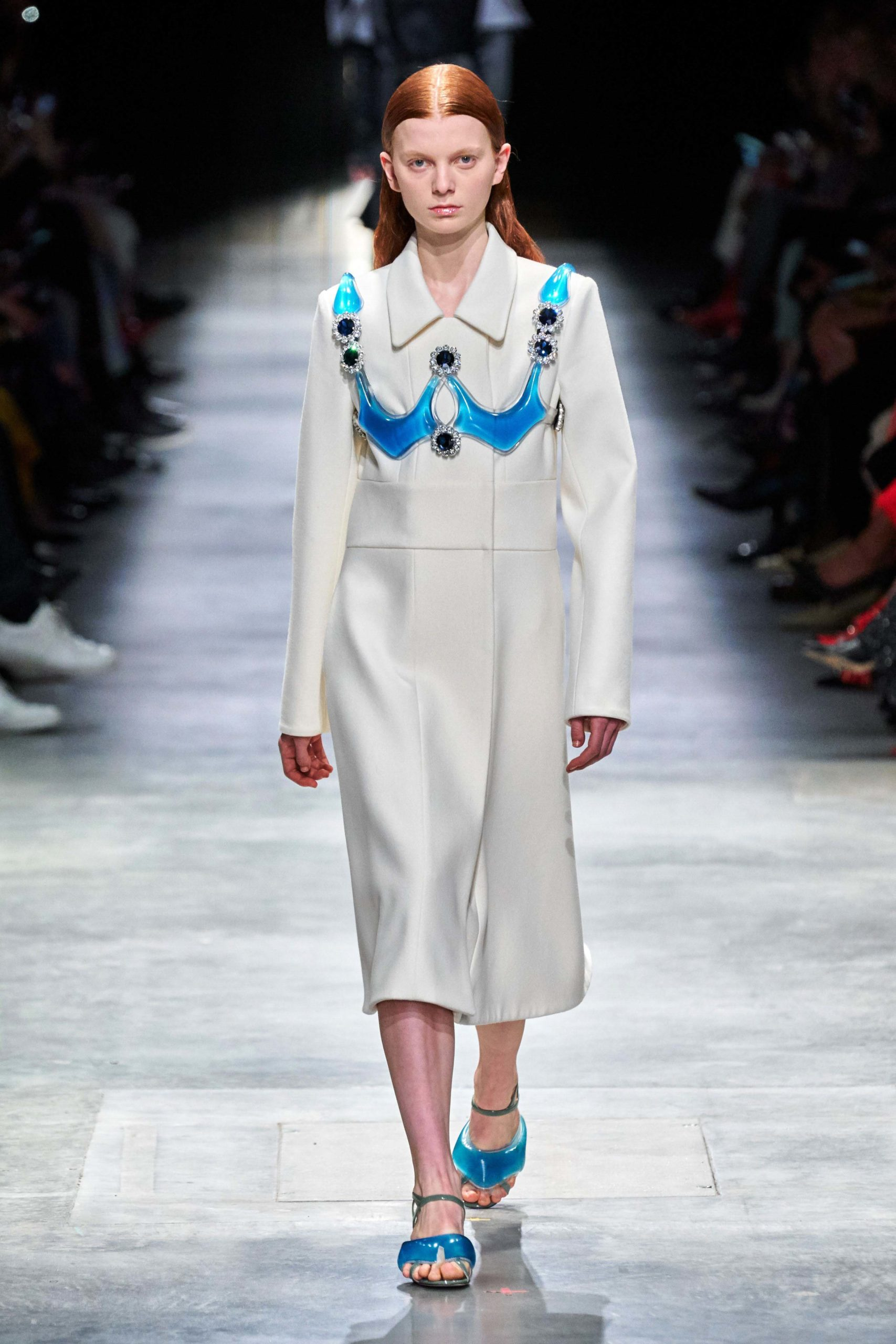 Christopher Kane Fall Winter 2020 trends runway coverage Ready To Wear Vogue blue and white Harness