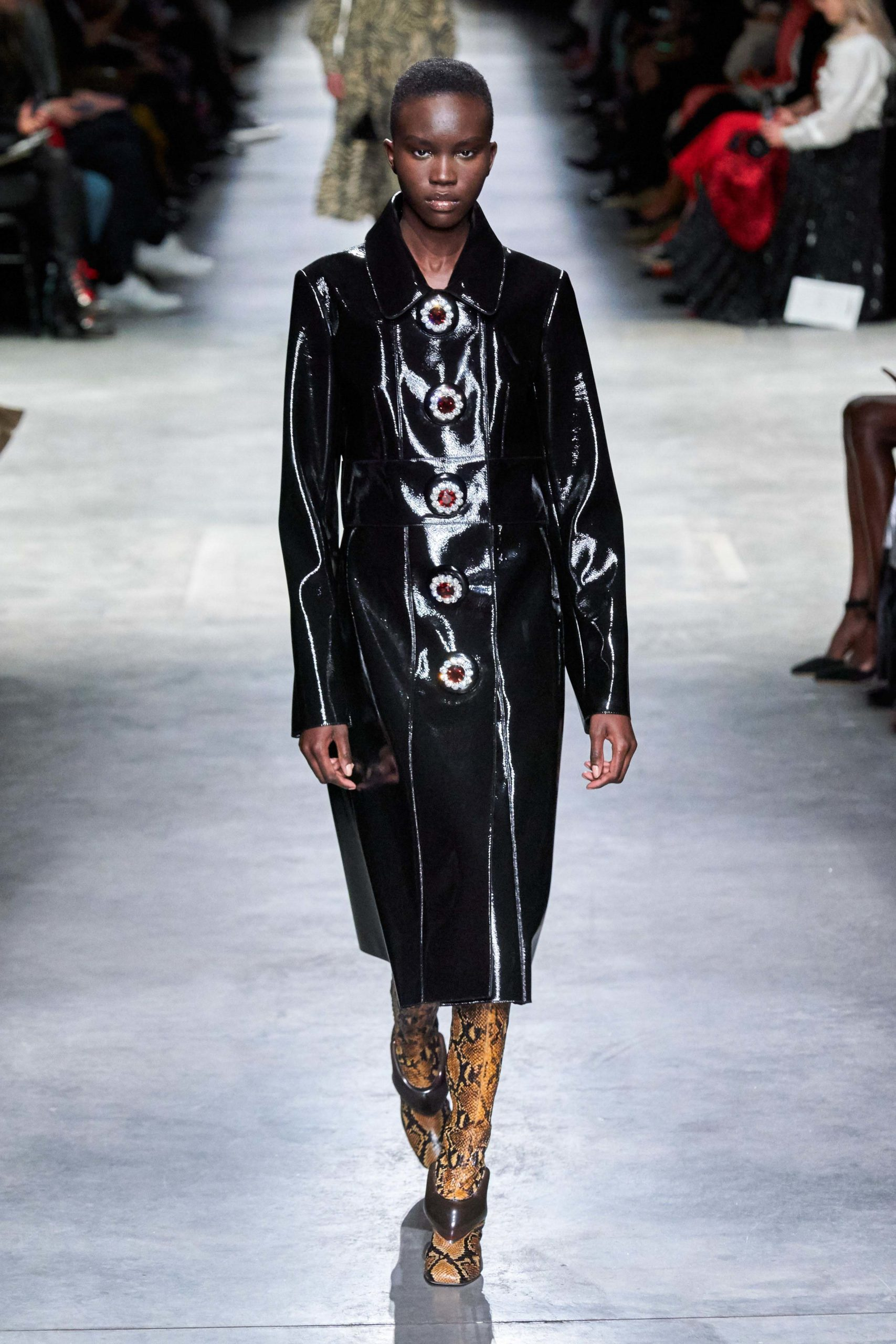 Christopher Kane Fall Winter 2020 trends runway coverage Ready To Wear Vogue patent leather luster glossy