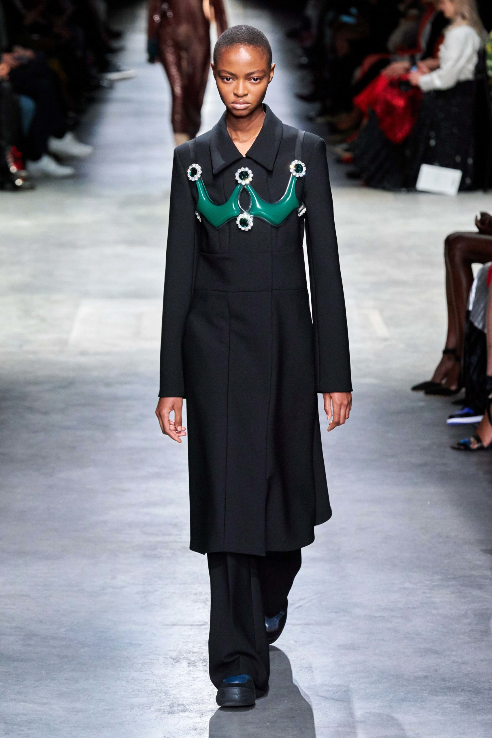 Christopher Kane Fall 2020 trends runway report Ready To Wear Vogue plastron button jewels