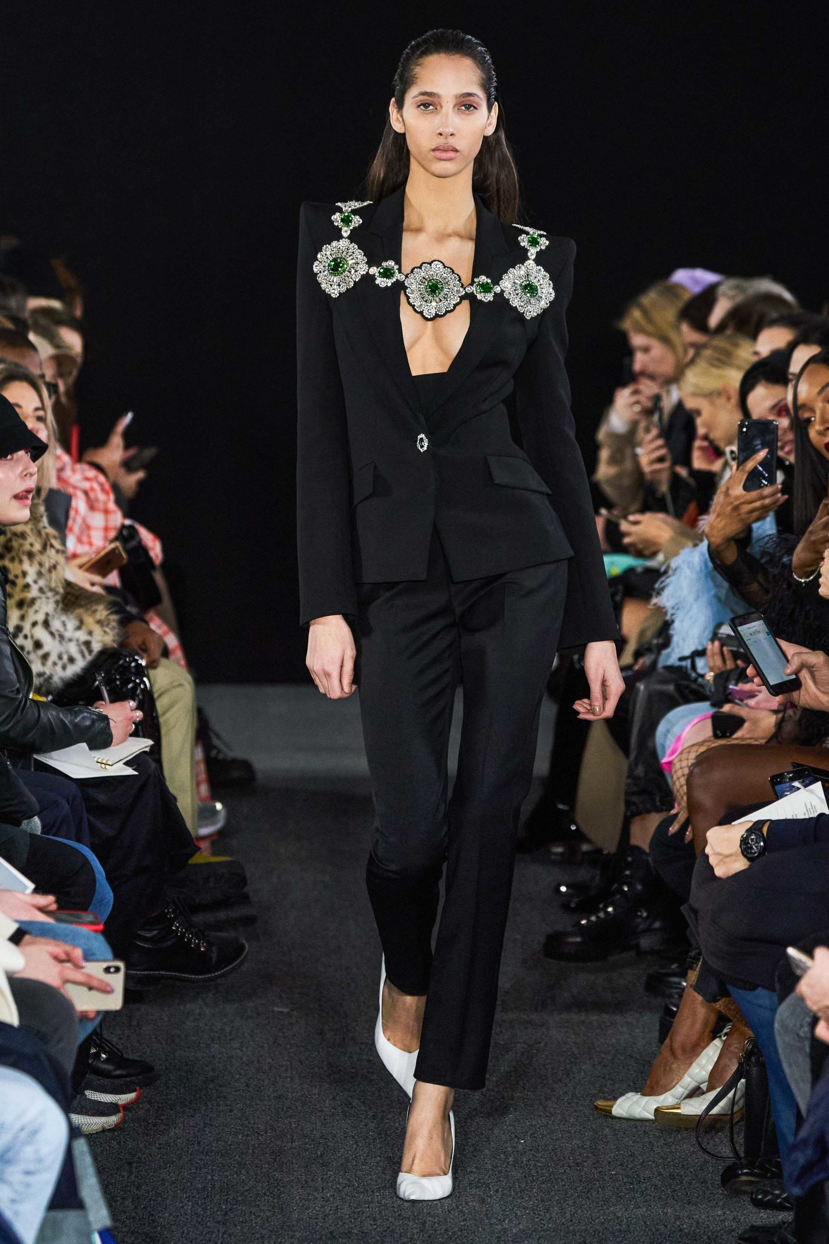 David Koma Fall 2020 trends runway report Ready To Wear Vogue plastron button jewels 2