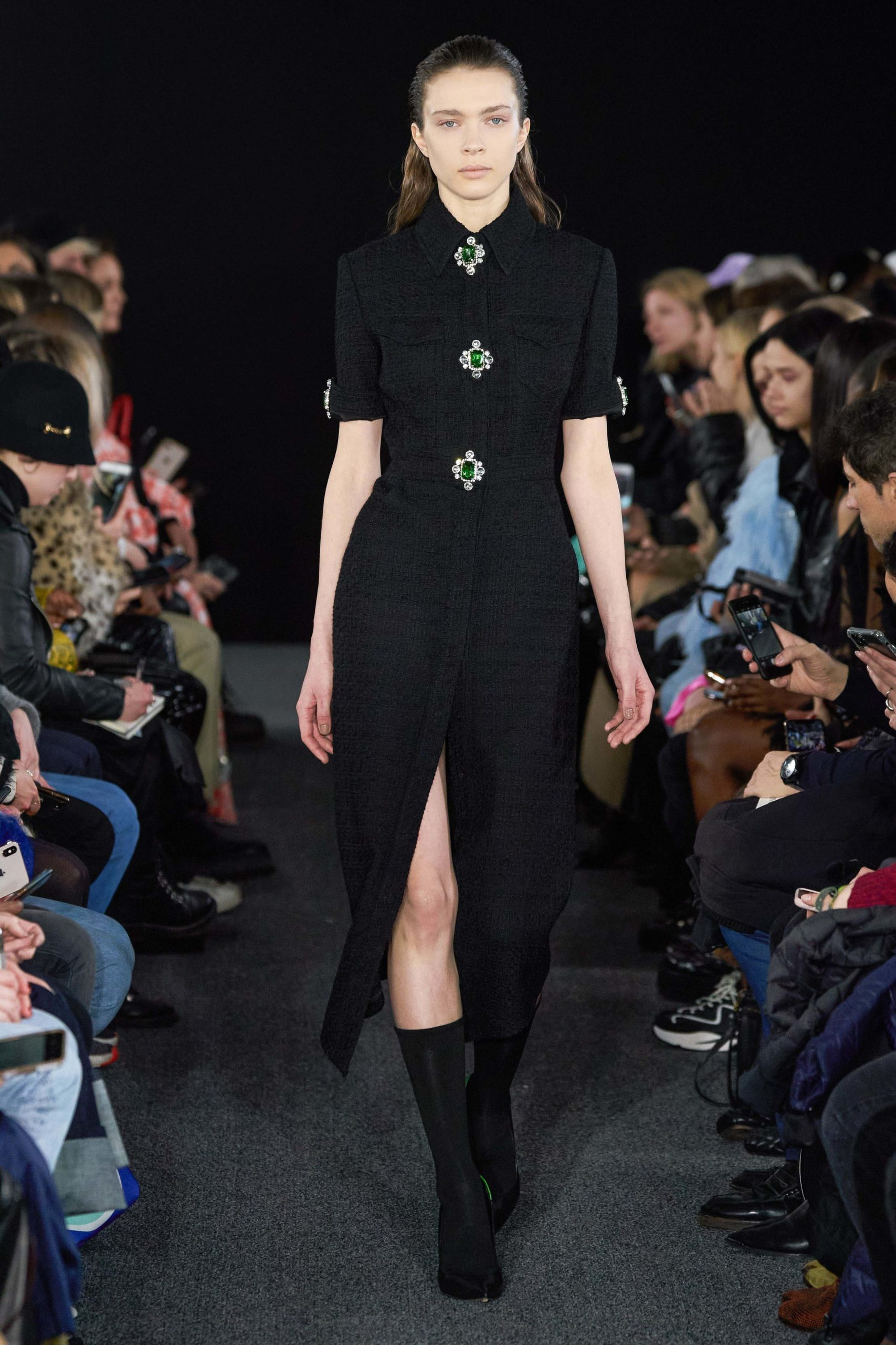 David Koma Fall 2020 trends runway report Ready To Wear Vogue plastron button jewels
