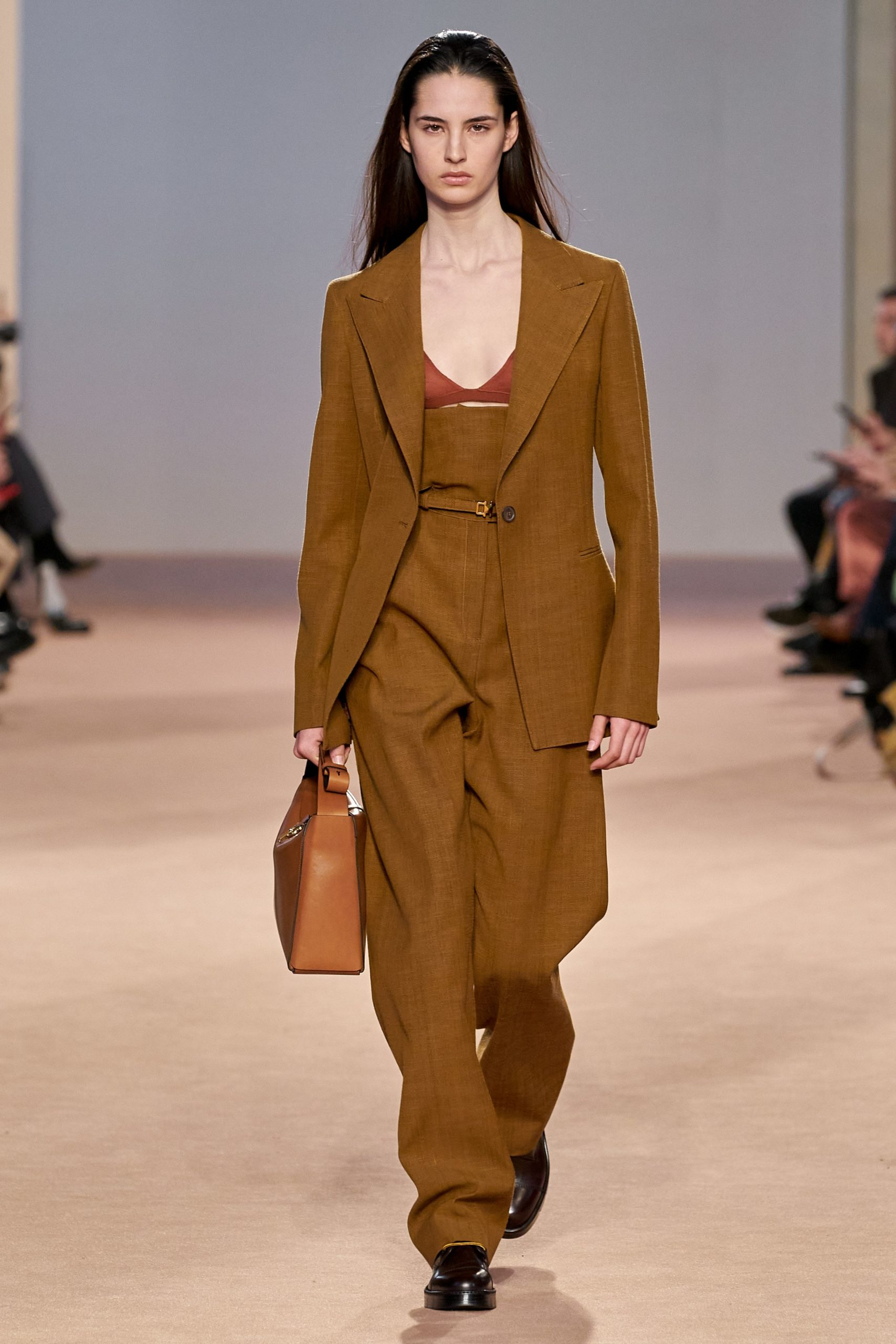 Ferragamo Fall 2020 trends runway coverage Ready To Wear Vogue caramel monochrome