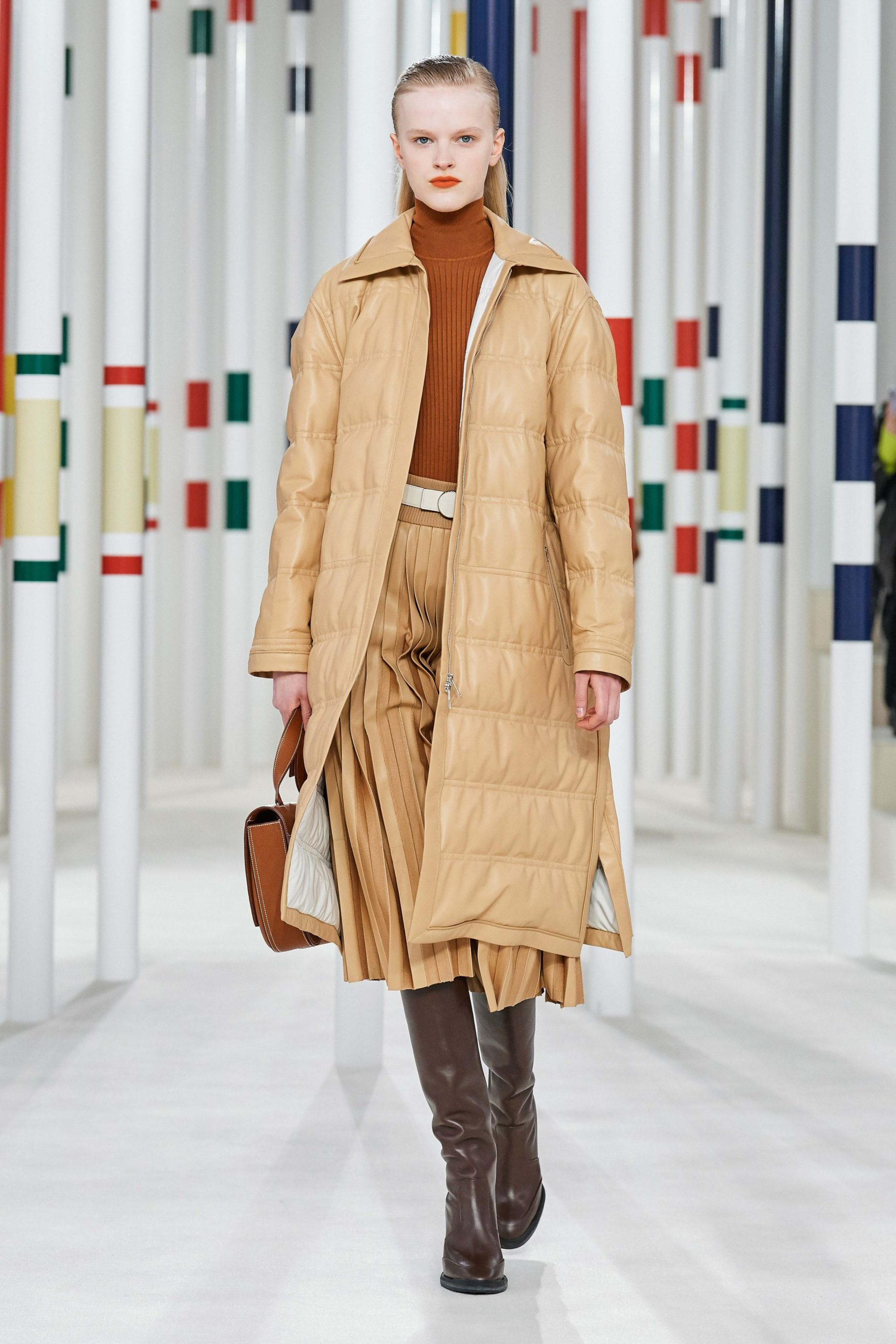 Hermes Fall 2020 trends runway coverage Ready To Wear Vogue waffle square quilted