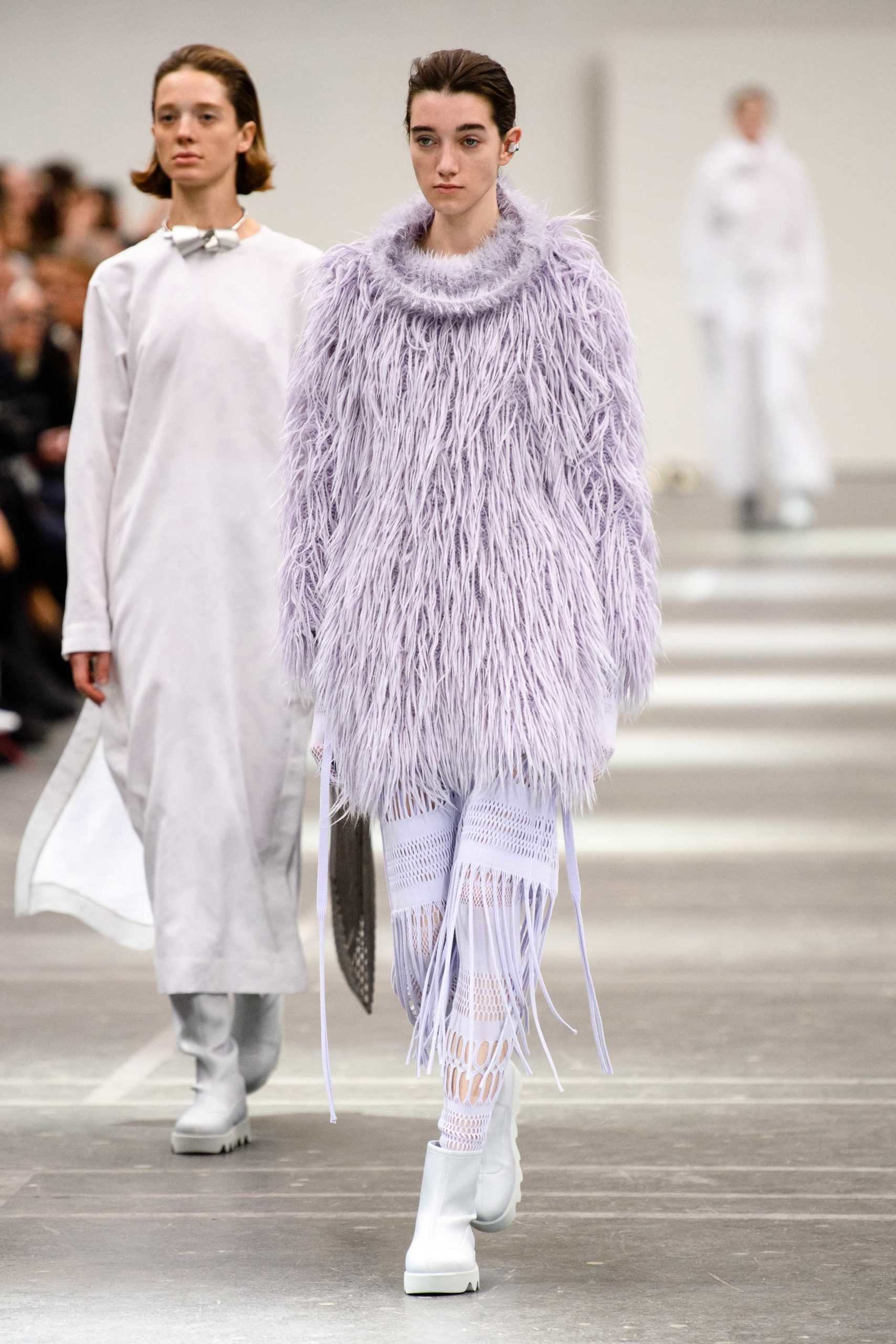 Issey Miyake Fall 2020 trends runway coverage Ready To Wear Vogue feather and fringe shaggy