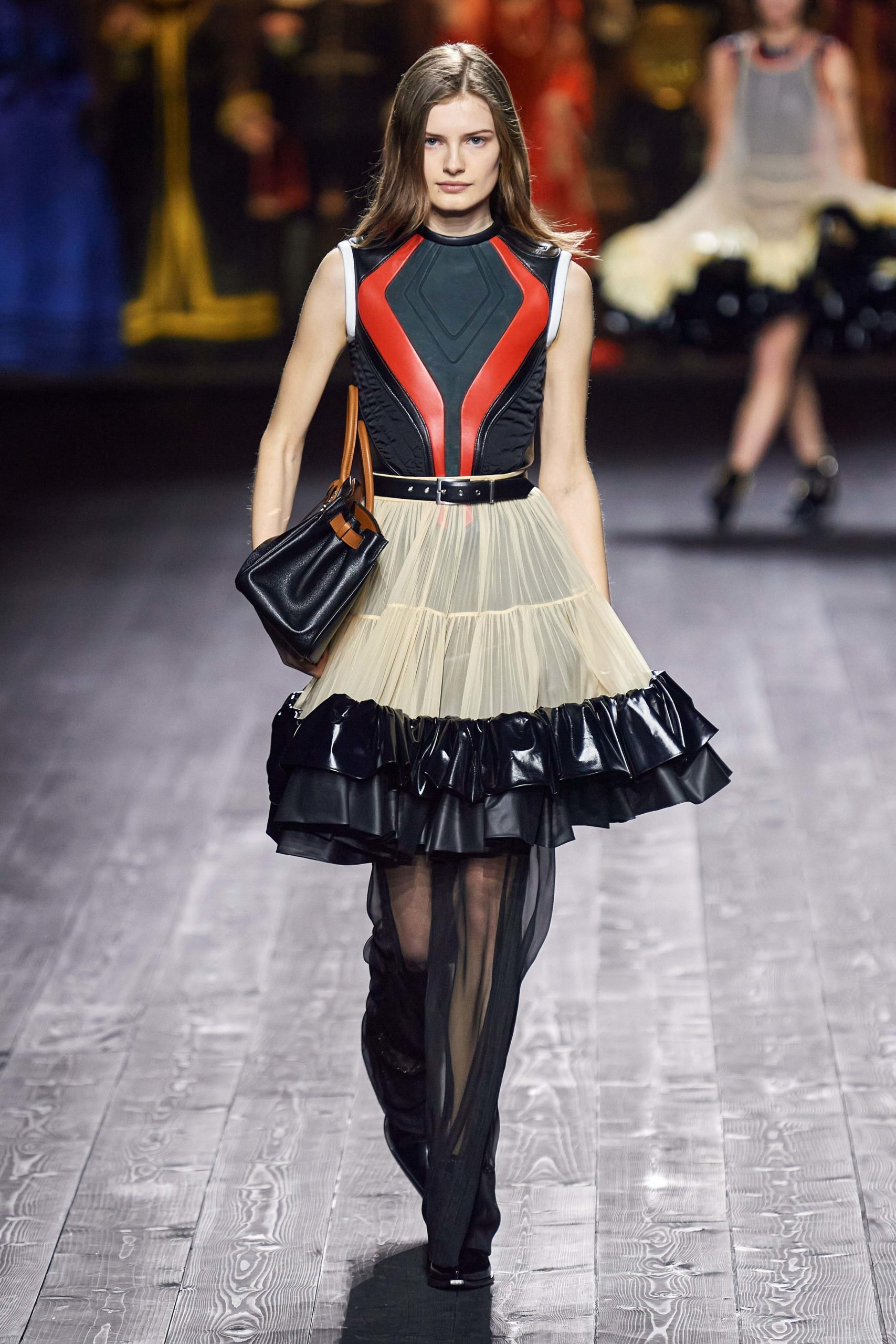 Louis Vuitton Fall 2020 trends runway coverage Ready To Wear Vogue leather skirt luster glossy