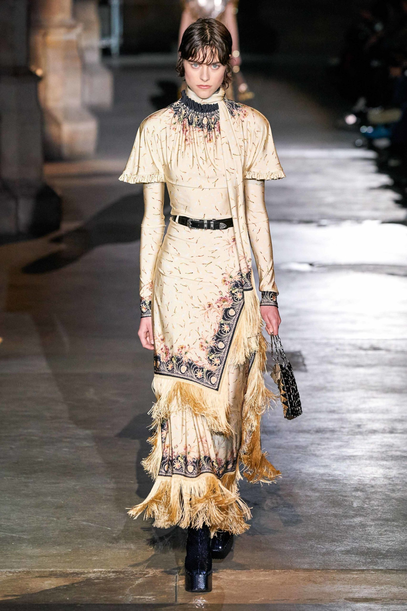 Paco Rabanne Fall 2020 trends runway coverage Ready To Wear Vogue wild animal arnais cape fringe