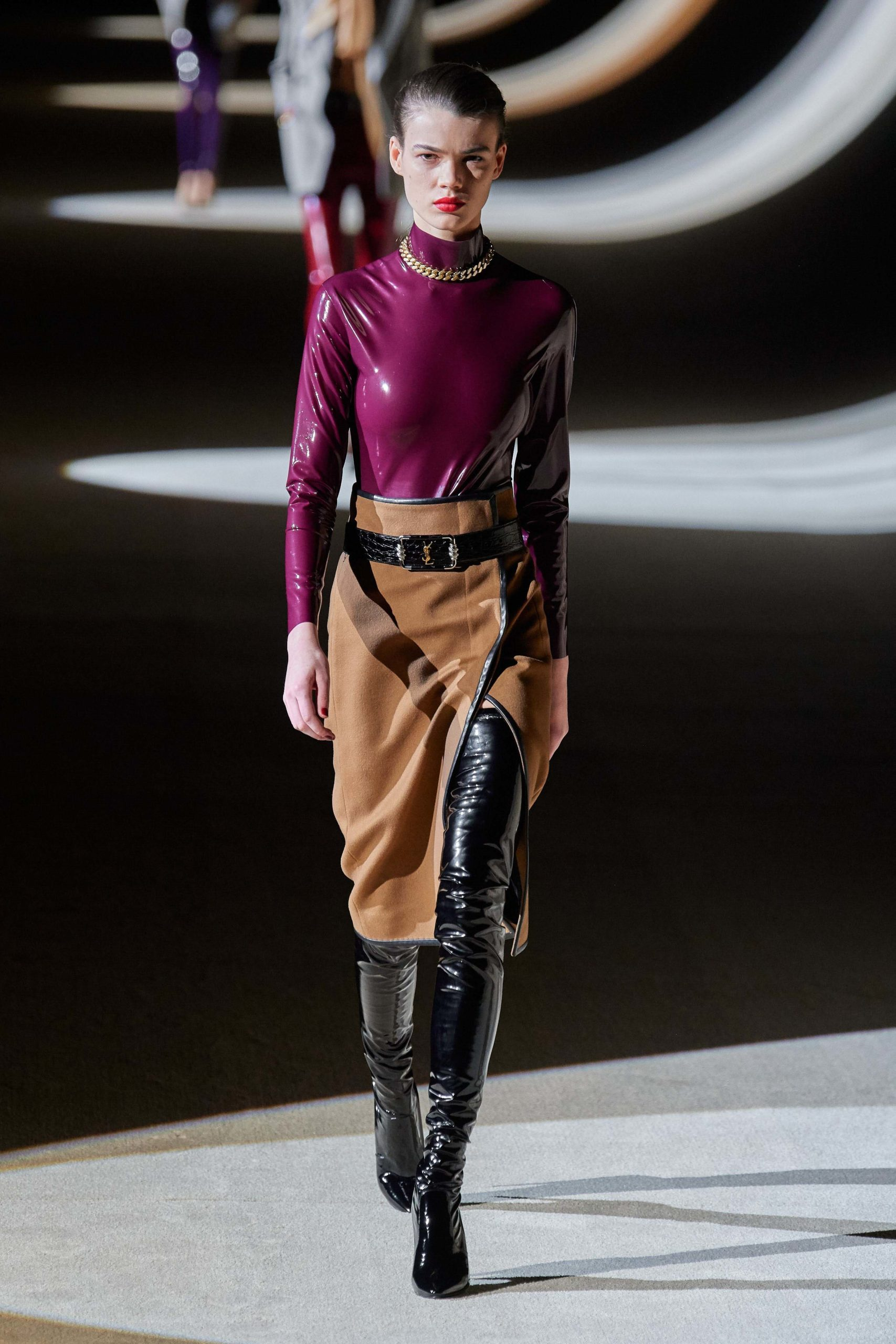 Saint Laurent Fall 2020 trends runway coverage Ready To Wear Vogue eggplant beige