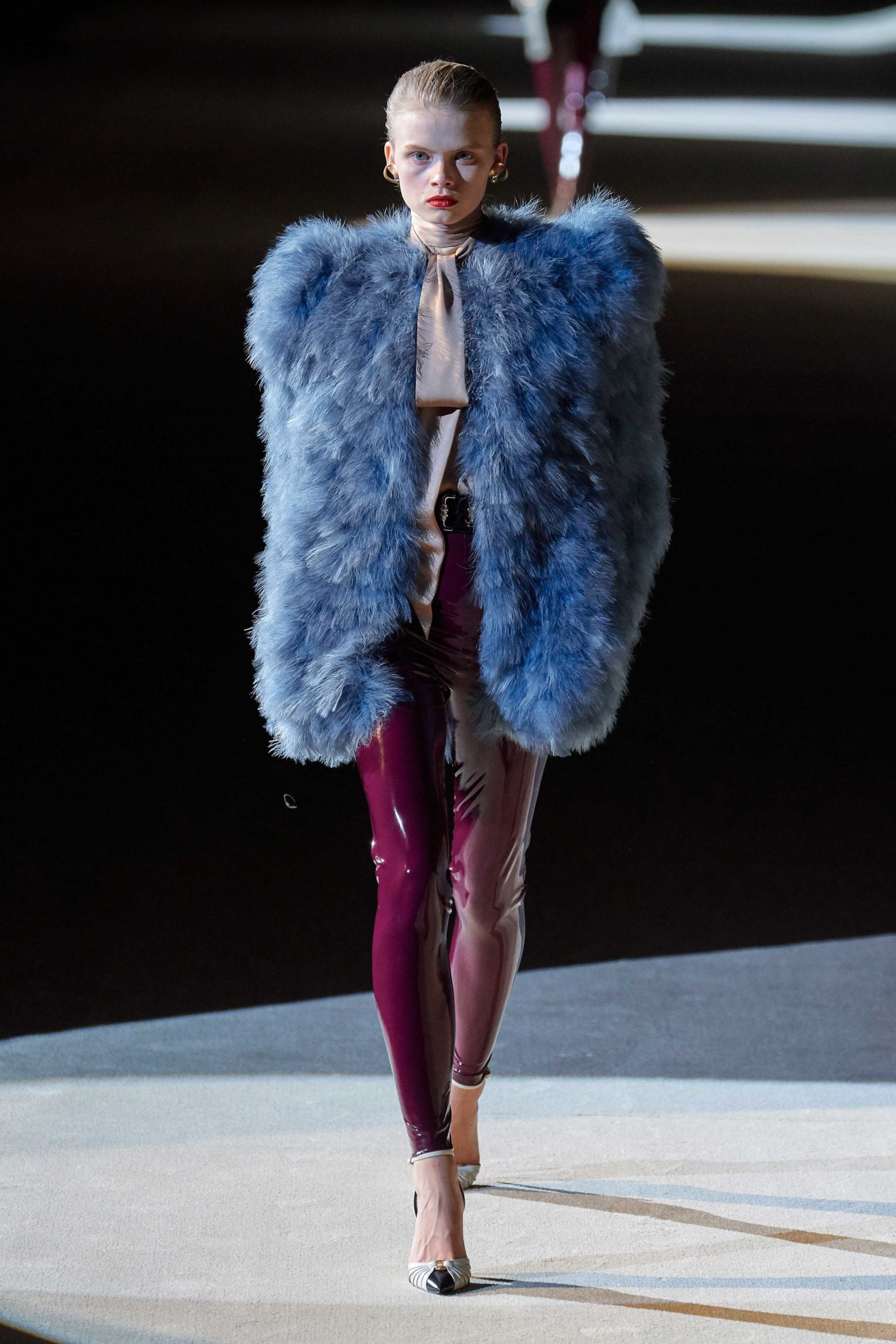 Saint Laurent Fall 2020 trends runway coverage Ready To Wear Vogue eggplant feather and shiny pants feather
