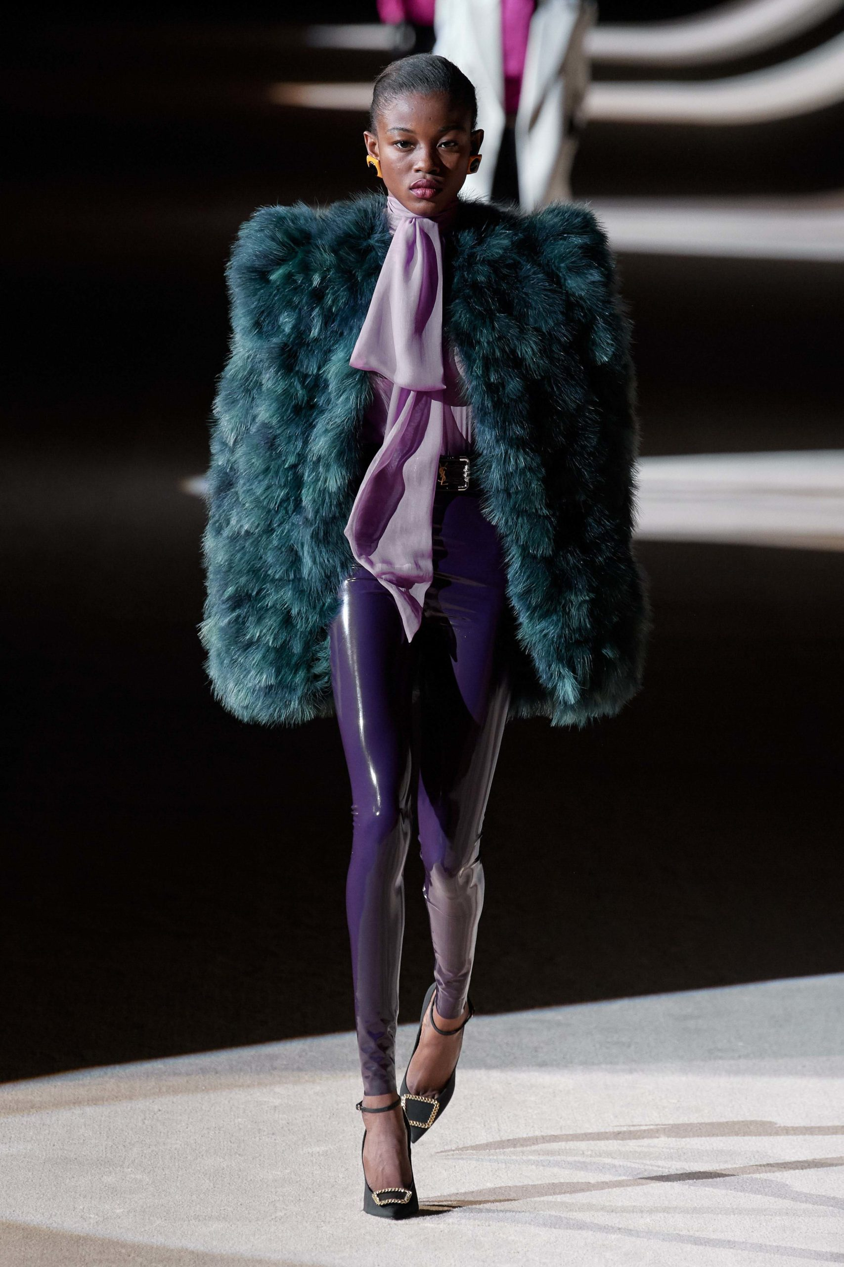 Saint Laurent Fall 2020 trends runway coverage Ready To Wear Vogue eggplant feather luster glossy