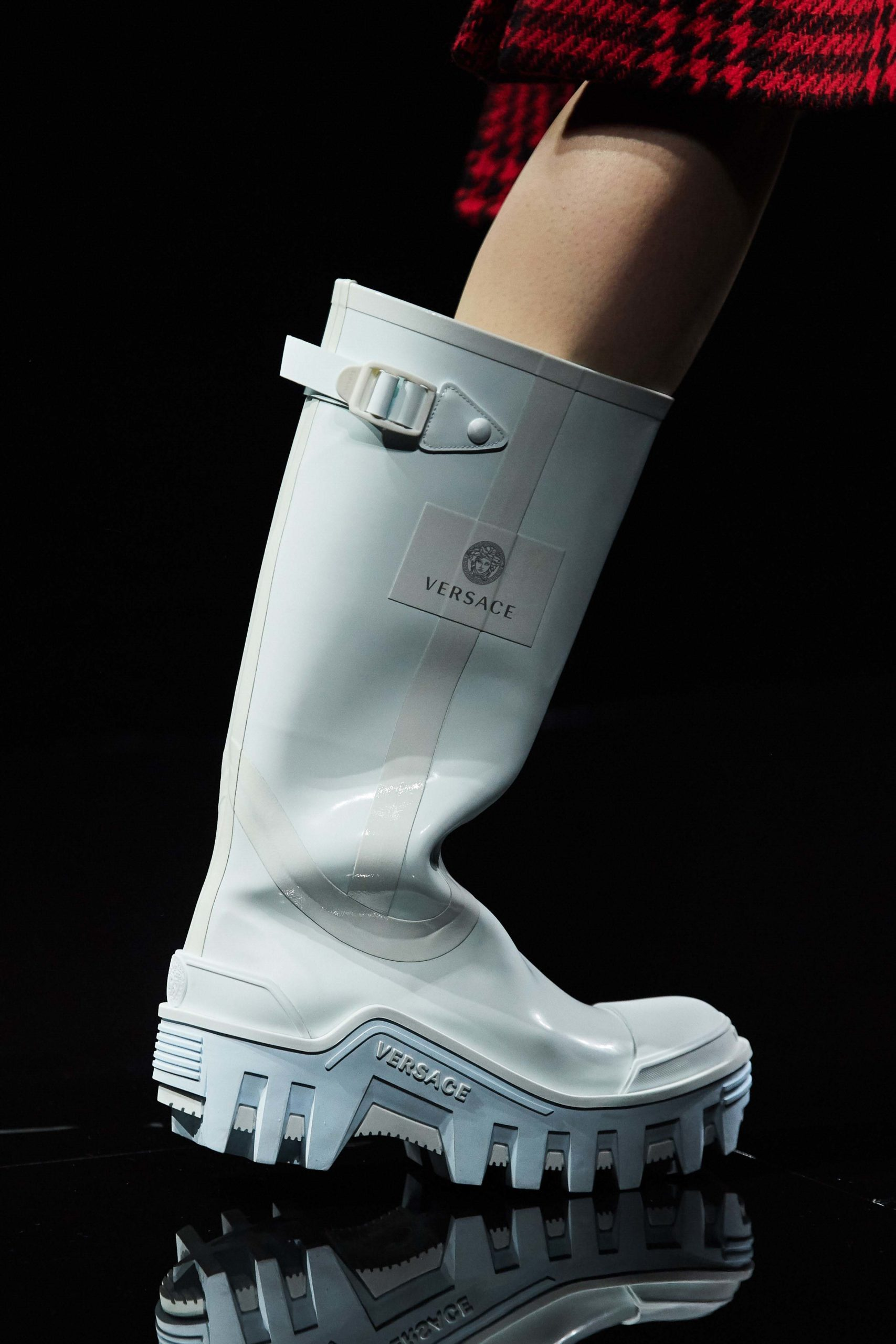 Versace Fall 2020 trends runway coverage Ready To Wear Vogue rubber rain boots luxury