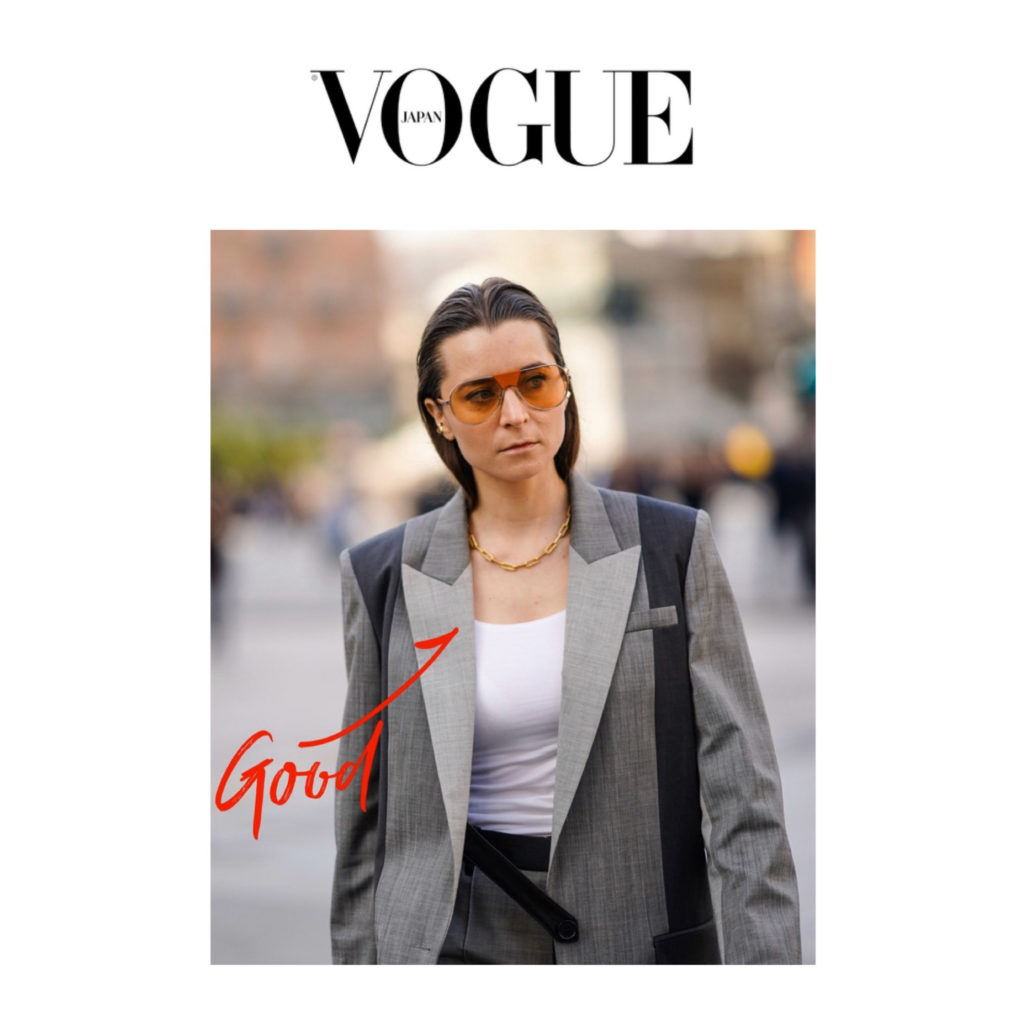 Vogue-Japan-julia-comil during Milan Fashion Week wearing barbra bui suit missoma london shot by Edward Berthelot