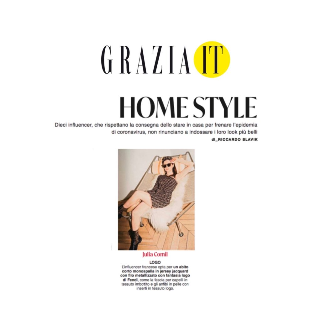 Grazia Italia Julia Comil home style quarantine wearing fendi 18 april 2020 press
