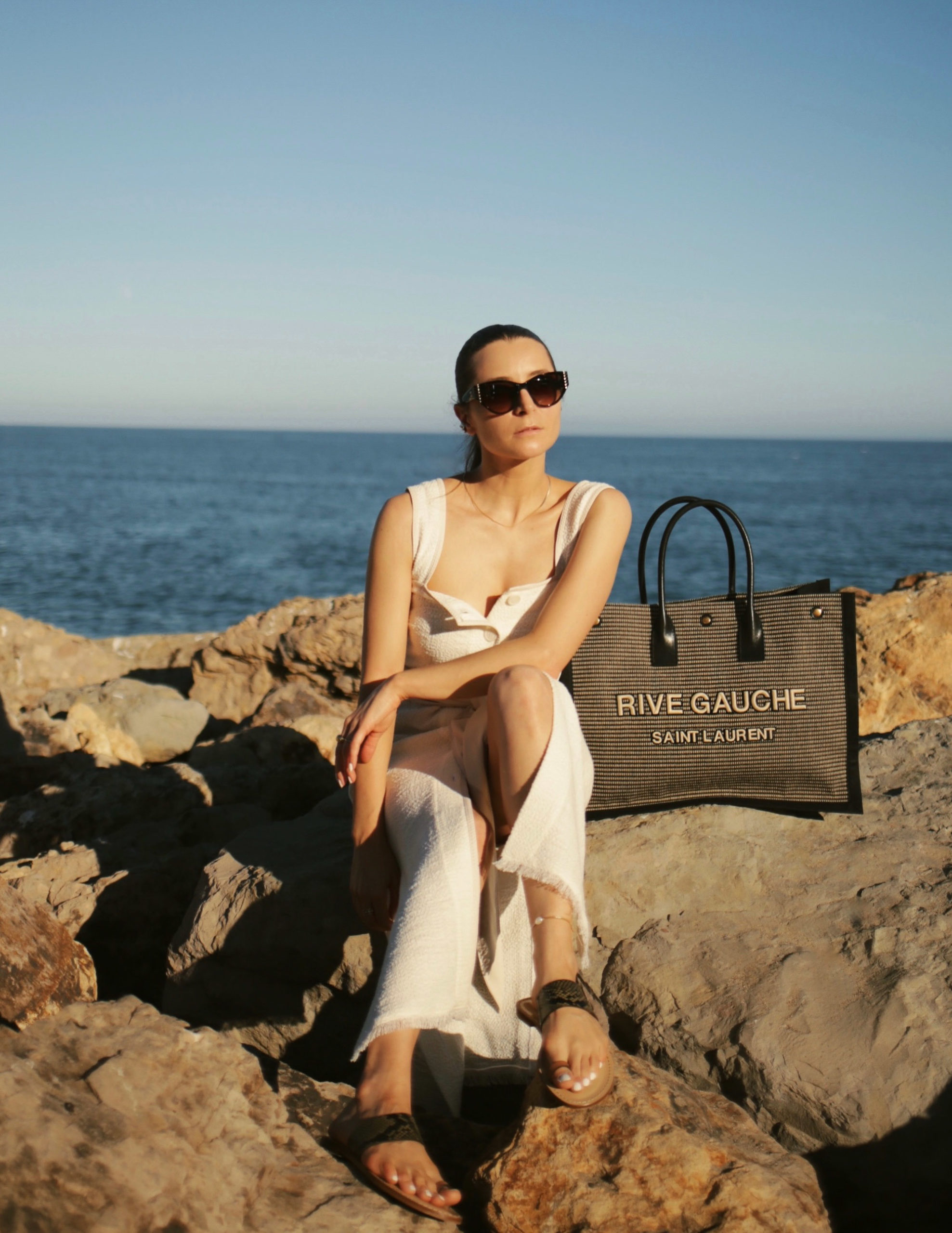 nanushka long dress summer style malibu canvas bag saint laurent