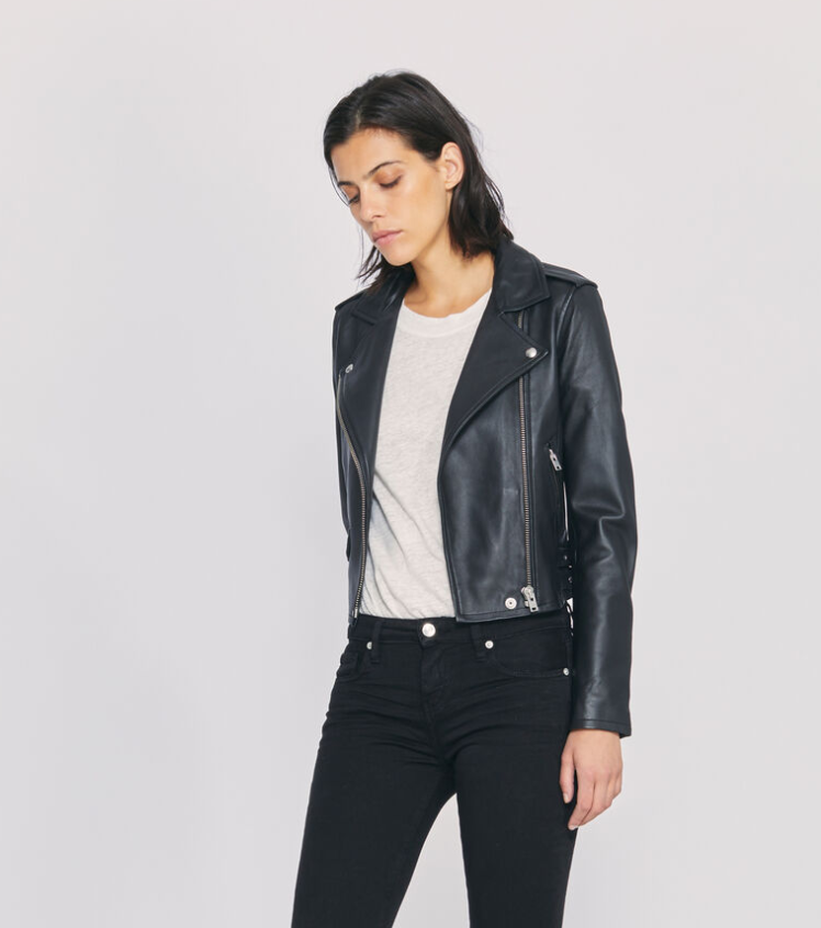 woman black leather jacket The perfecto: The black leather jacket for women The leather biker jacket is a French staple: timeless and effortless chic! Selection of the best premium leather jackets Iro