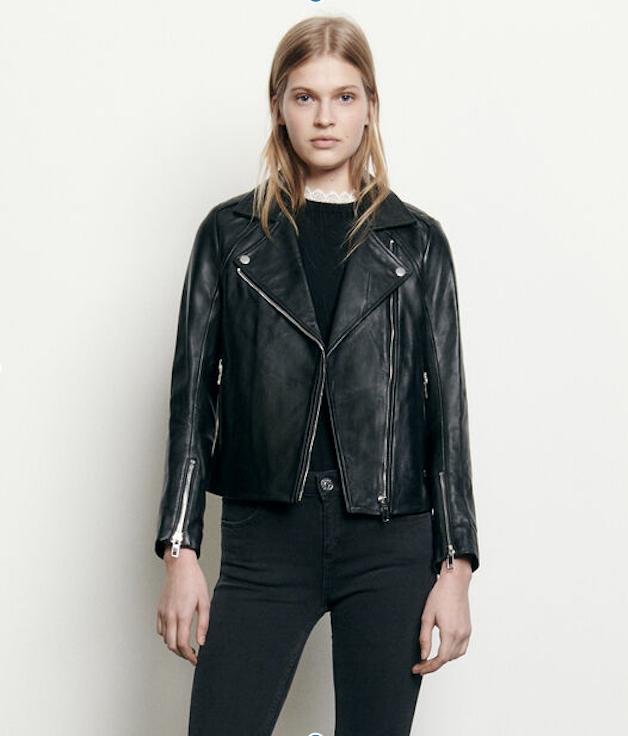 parisian style Sandro lambskin black leather jacket for women