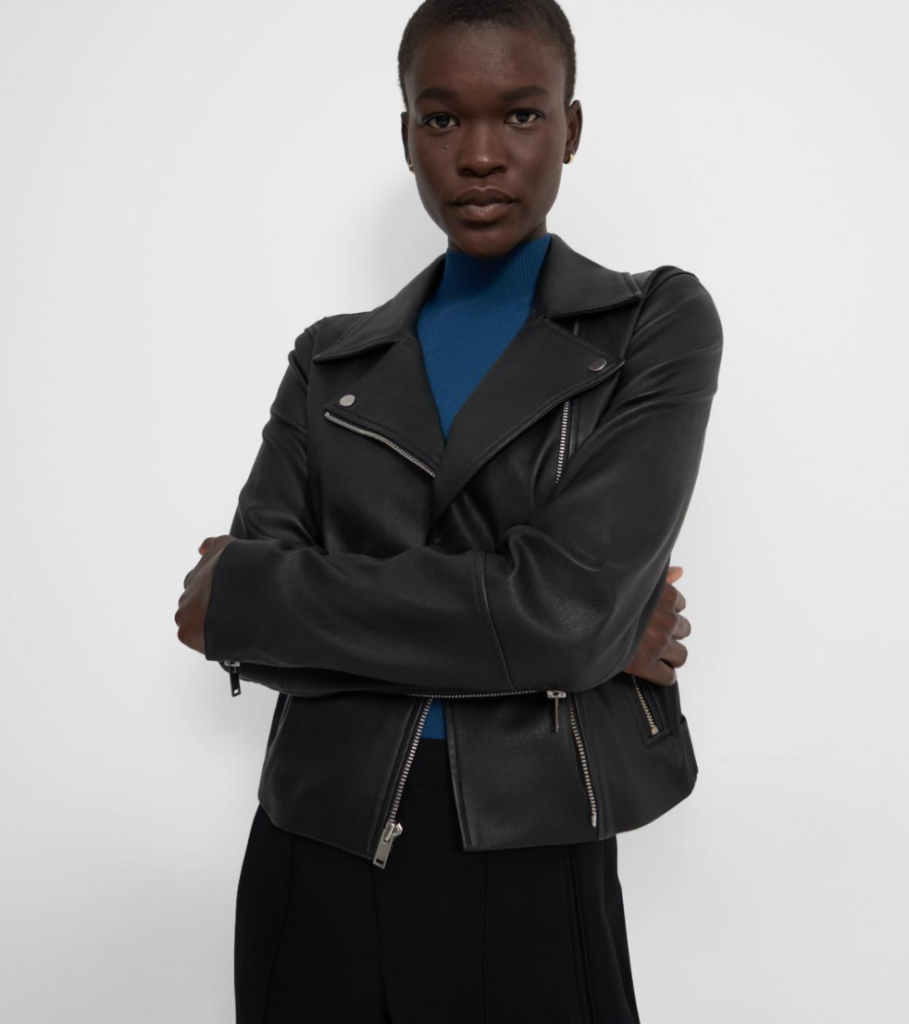 The perfecto: The black leather jacket for women The leather biker jacket is a French staple: timeless and effortless chic! Selection of the best premium leather jackets Theory