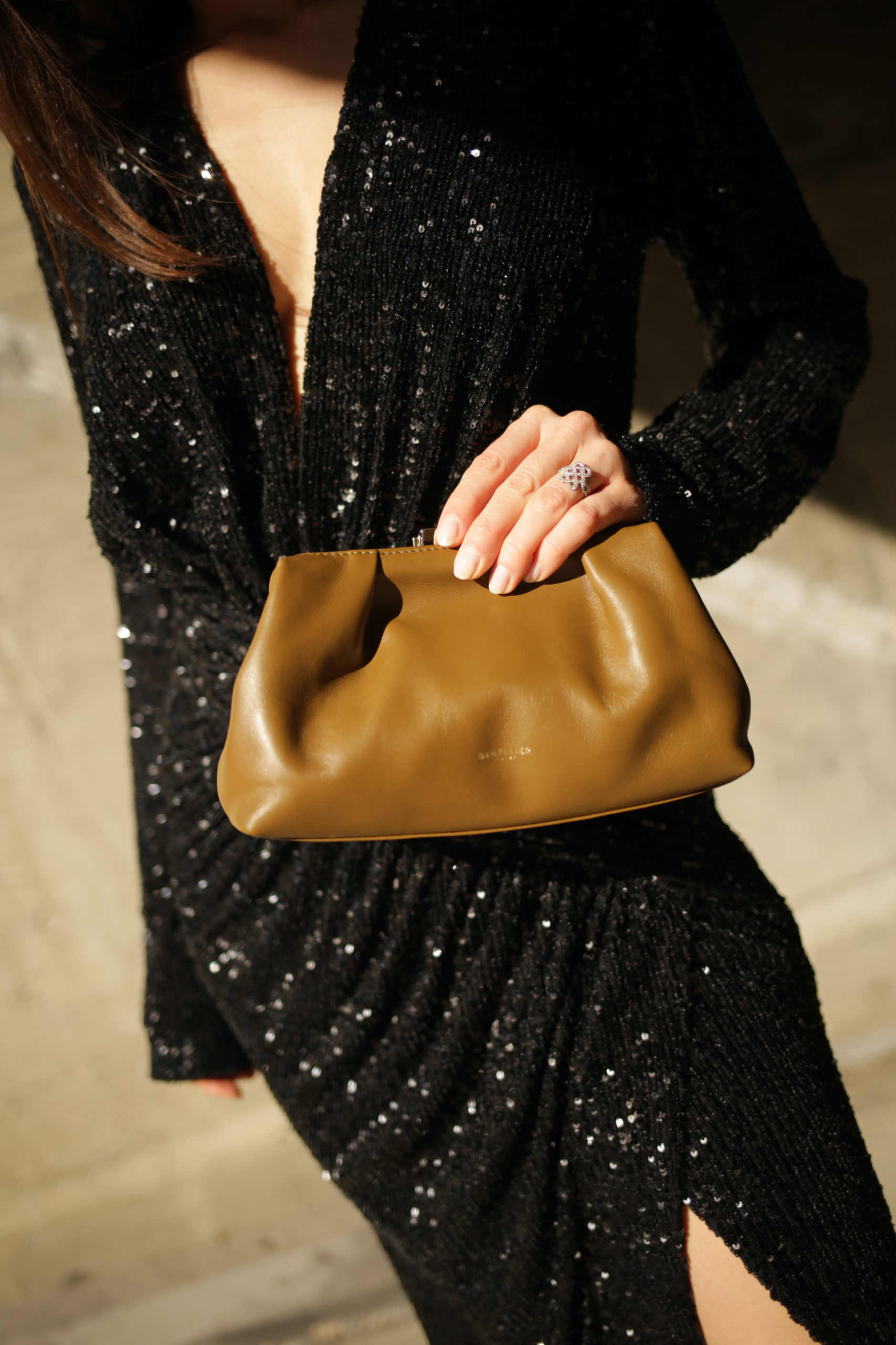 Holiday party outfits 2020 sequins dress in the mood for love mini florence bag bag demellier london