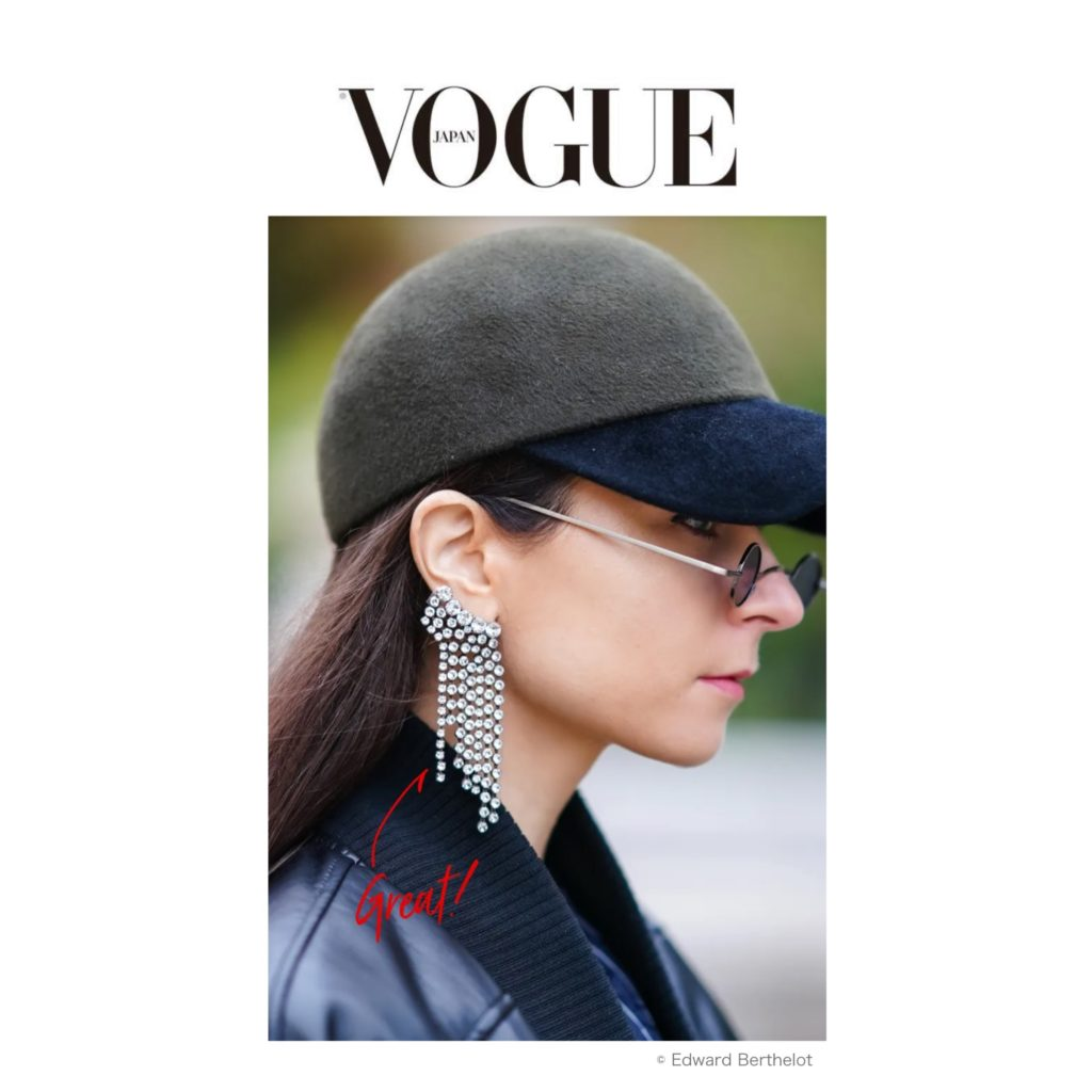 Vogue Japan - Best of Paris Fashion Week Street Style Spring 2021 - Julia Comil shot by The Edward Berthelot - Julia Comil is wearing Sportmax,Isabel Marant earrings, D Estree hat, Rendel sunglasses - press