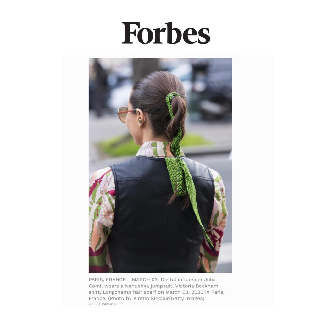 Forbes - Scarf Hair Style - Paris Fashion Week Street Style Fall 2020 - Julia Comil shot by @Kristinsinclair - Julia Comil is wearing a longchamp sarf