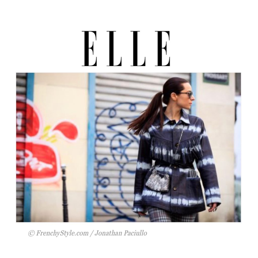 Elle France - Best of Paris Fashion Week Street Style Spring 2021 - Julia Comil shot by @lefrenchstyle Jonathan Paciullo - Julia Comil is wearing Sea New YOrk tie-dye fringe coat, paco rabanne bag - press