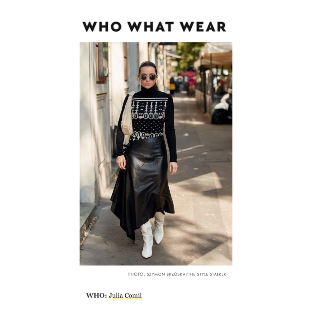 WhoWhatWear - Best of Milan Fashion Week Street Style Spring 2021 - Julia Comil shot by The Style Stalker - Julia Comil is wearing Barbara Bui skirt, Longchamp sweater, Nicholas Kirkwood boots, Staud bag - press