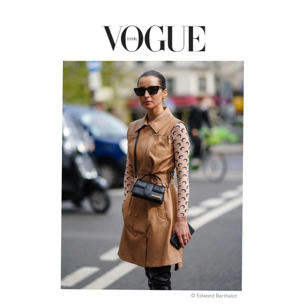 Vogue Spain - Best of Paris Fashion Week Street Style Spring 2021 - Julia Comil shot by The Edward Berthelot after Gauchere - Julia Comil is wearing Sportmax dress, Marine Serre top, jacquemus bambino bag - press