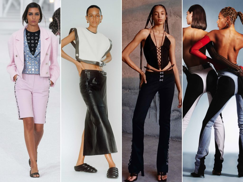 Spring Summer 2021 trends runway coverage Ready To Wear - 2000 trend: low rise pants, juicy couture, belly bottom, paris hilton, Dark Angel style.